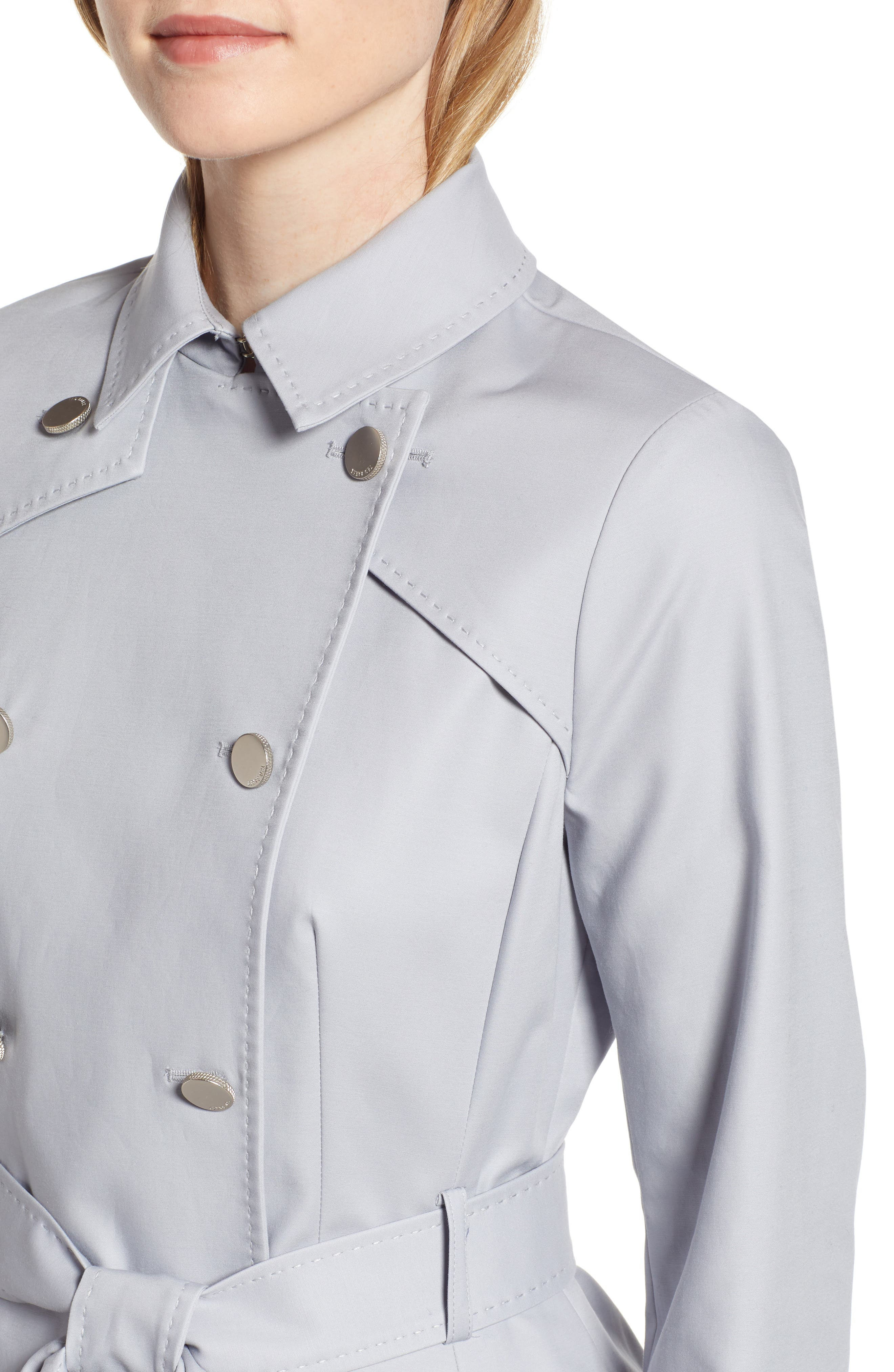 TED BAKER LONDON, Tie Cuff Detail Trench Coat, Alternate thumbnail 5, color, GREY