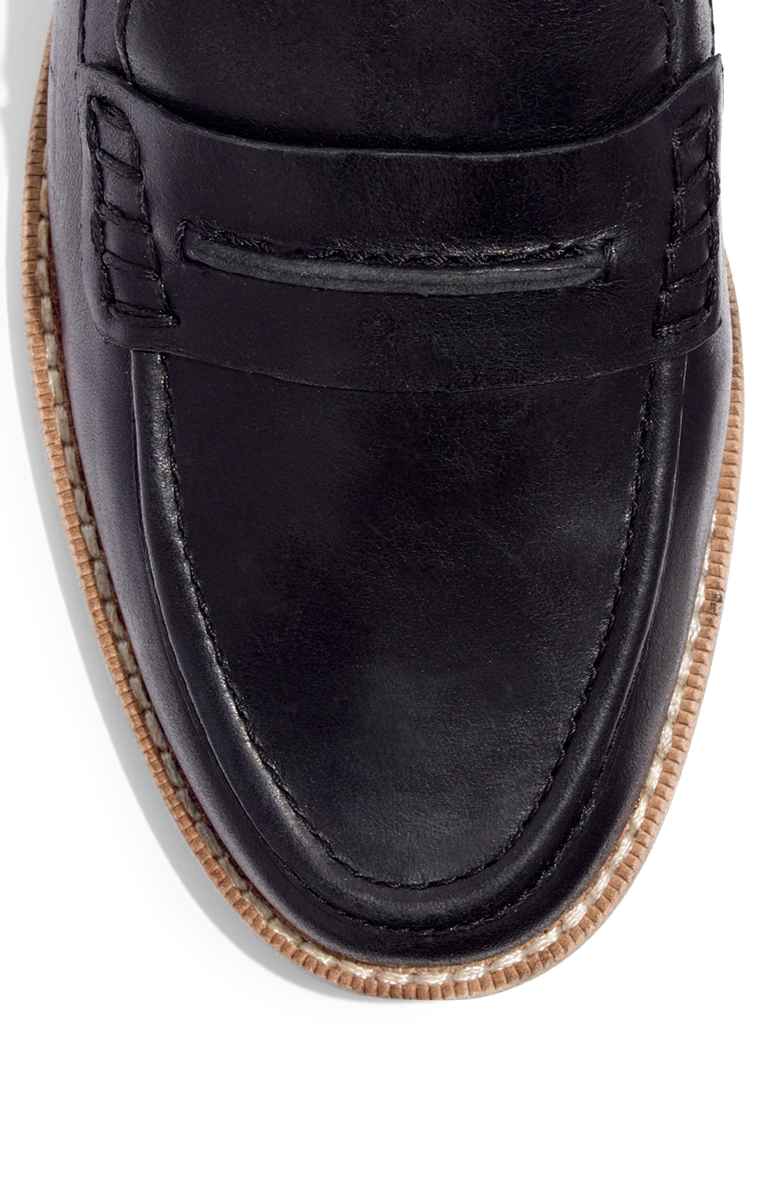 MADEWELL, The Elinor Loafer, Alternate thumbnail 7, color, BLACK LEATHER