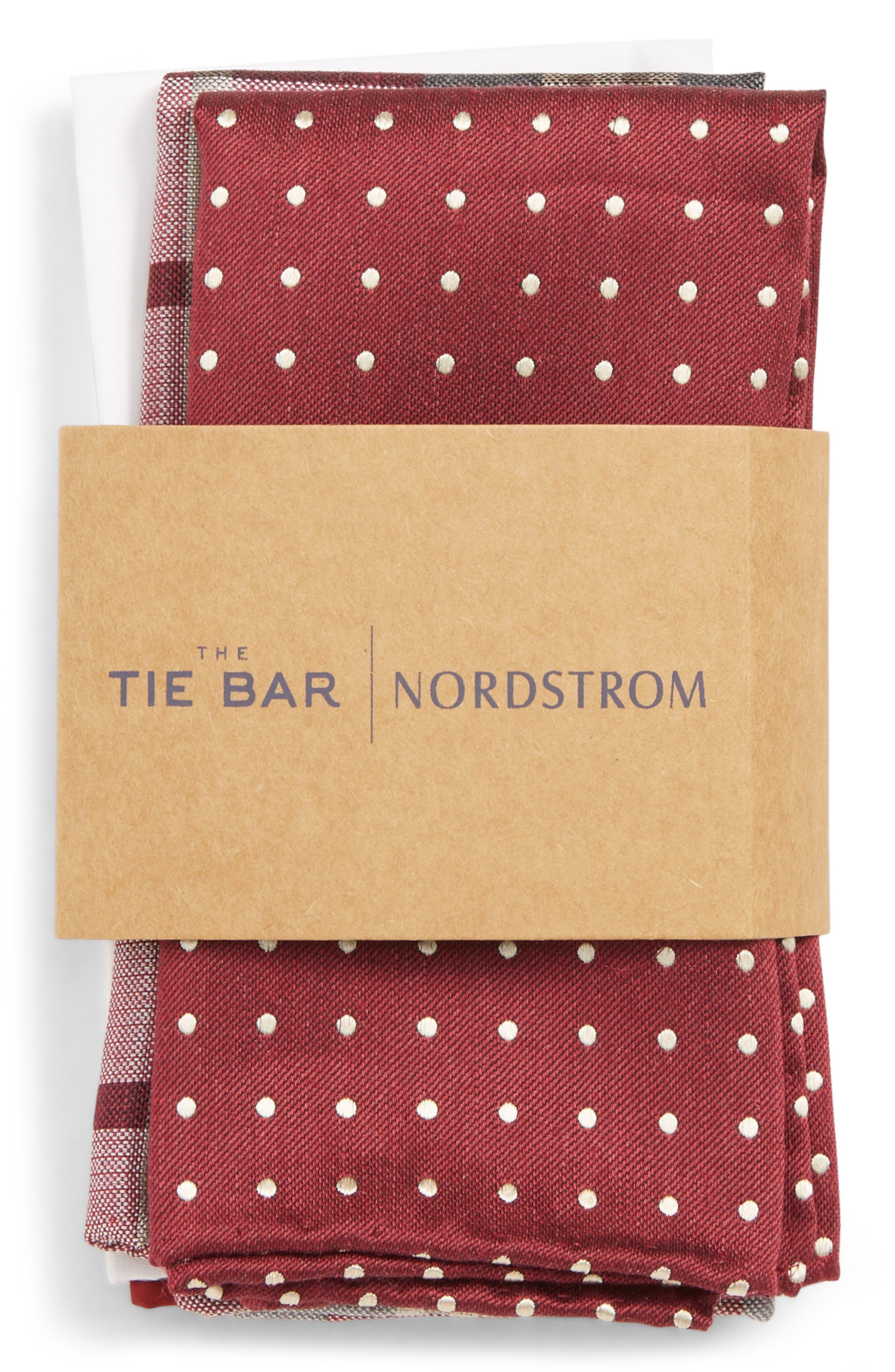 THE TIE BAR, 3-Pack Pocket Squares, Alternate thumbnail 2, color, BURGUNDY