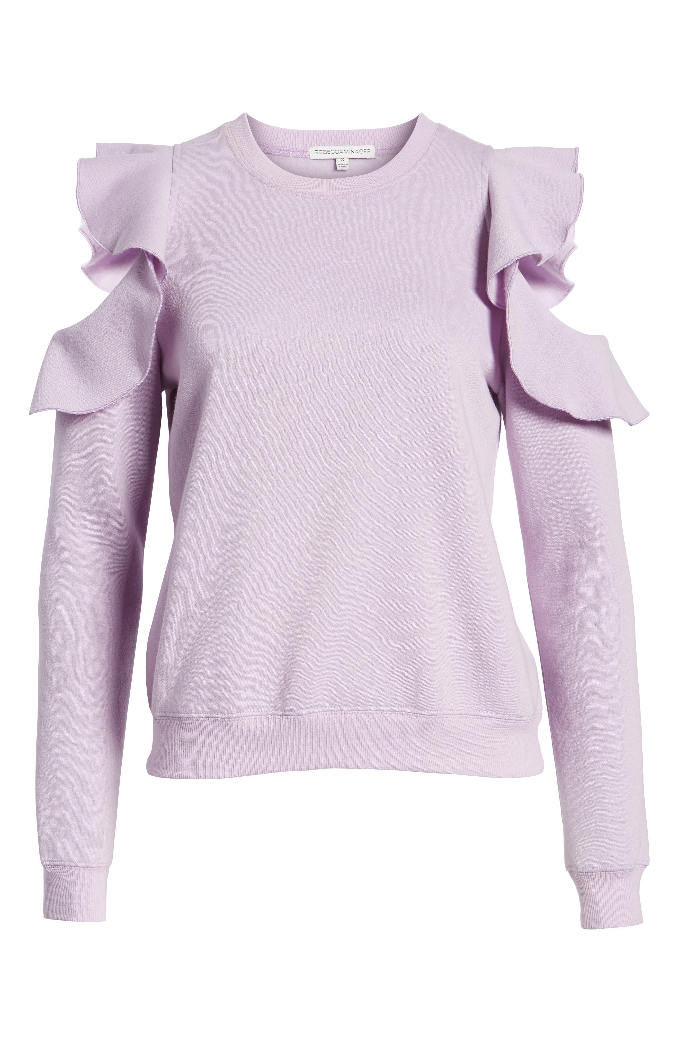 REBECCA MINKOFF, Gracie Cold Shoulder Sweatshirt, Alternate thumbnail 7, color, 502