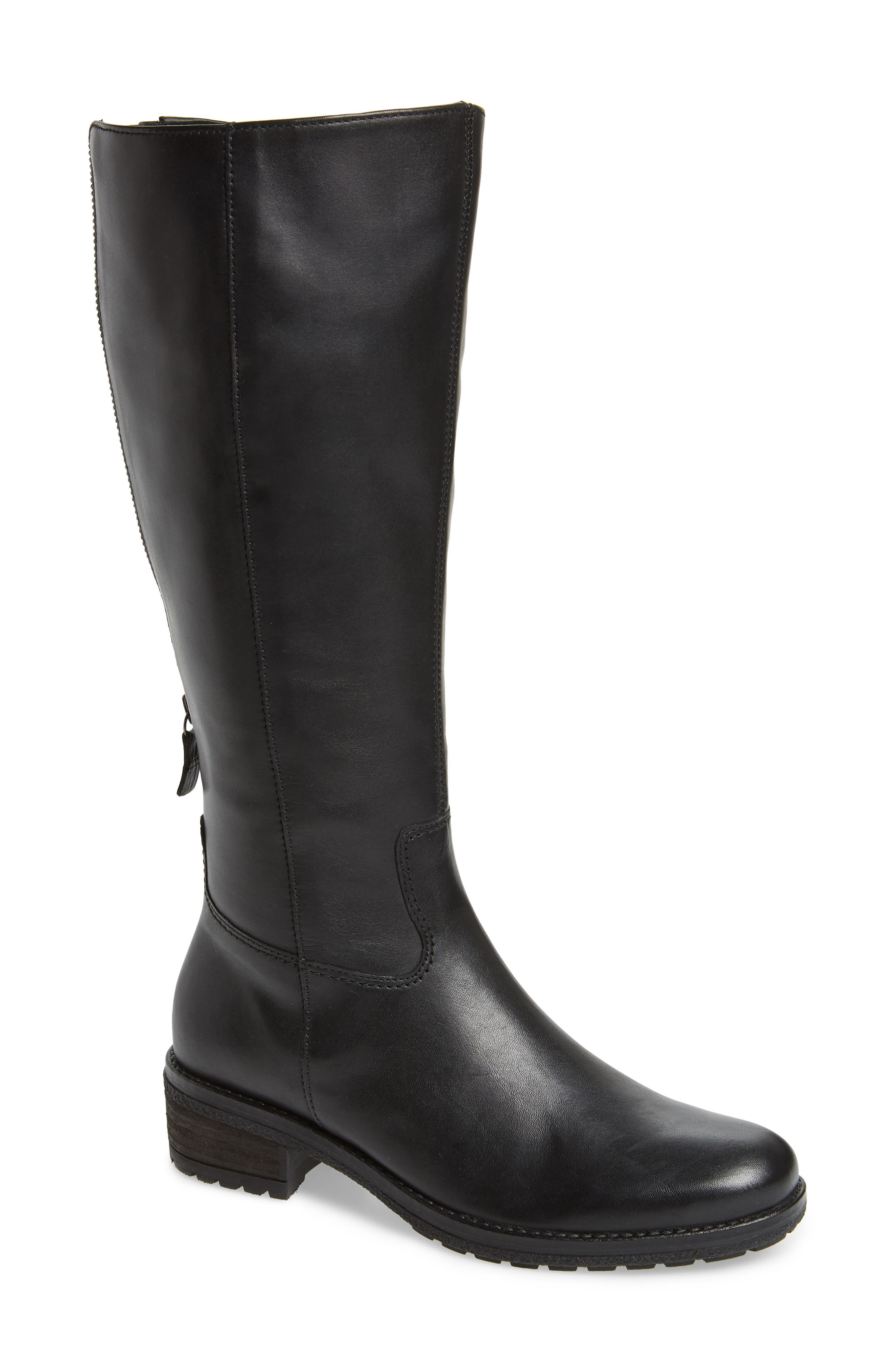 GABOR, Classic Comfort Knee High Riding Boot, Main thumbnail 1, color, BLACK LEATHER