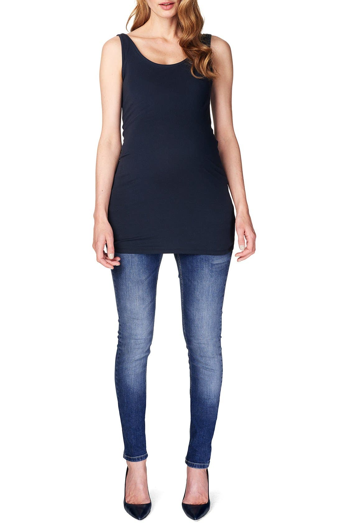 NOPPIES 'Amsterdam' Scoop Neck Long Maternity Top, Main, color, DARK BLUE