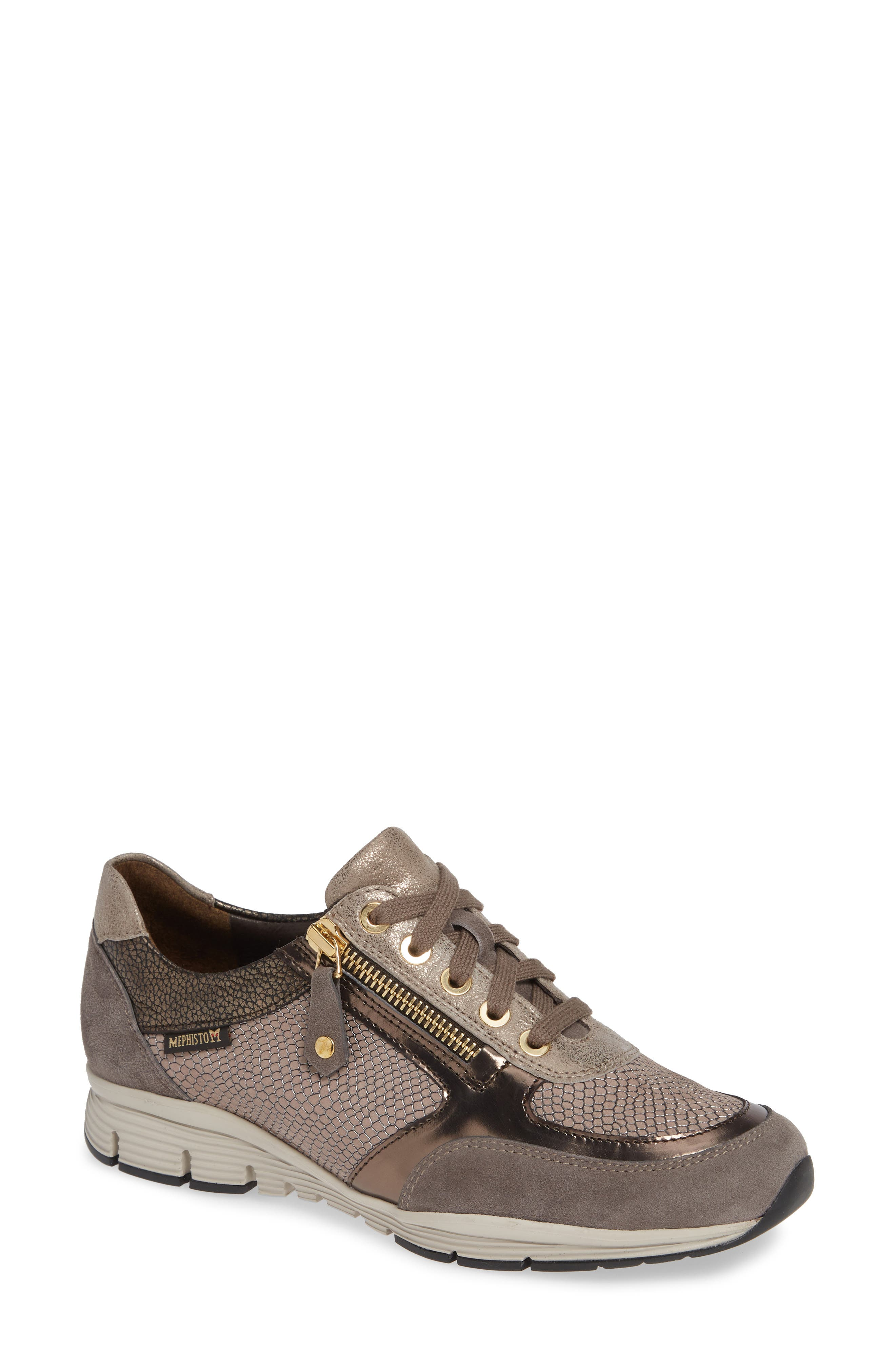 MEPHISTO Ylona Sneaker, Main, color, DARK GREY SUEDE