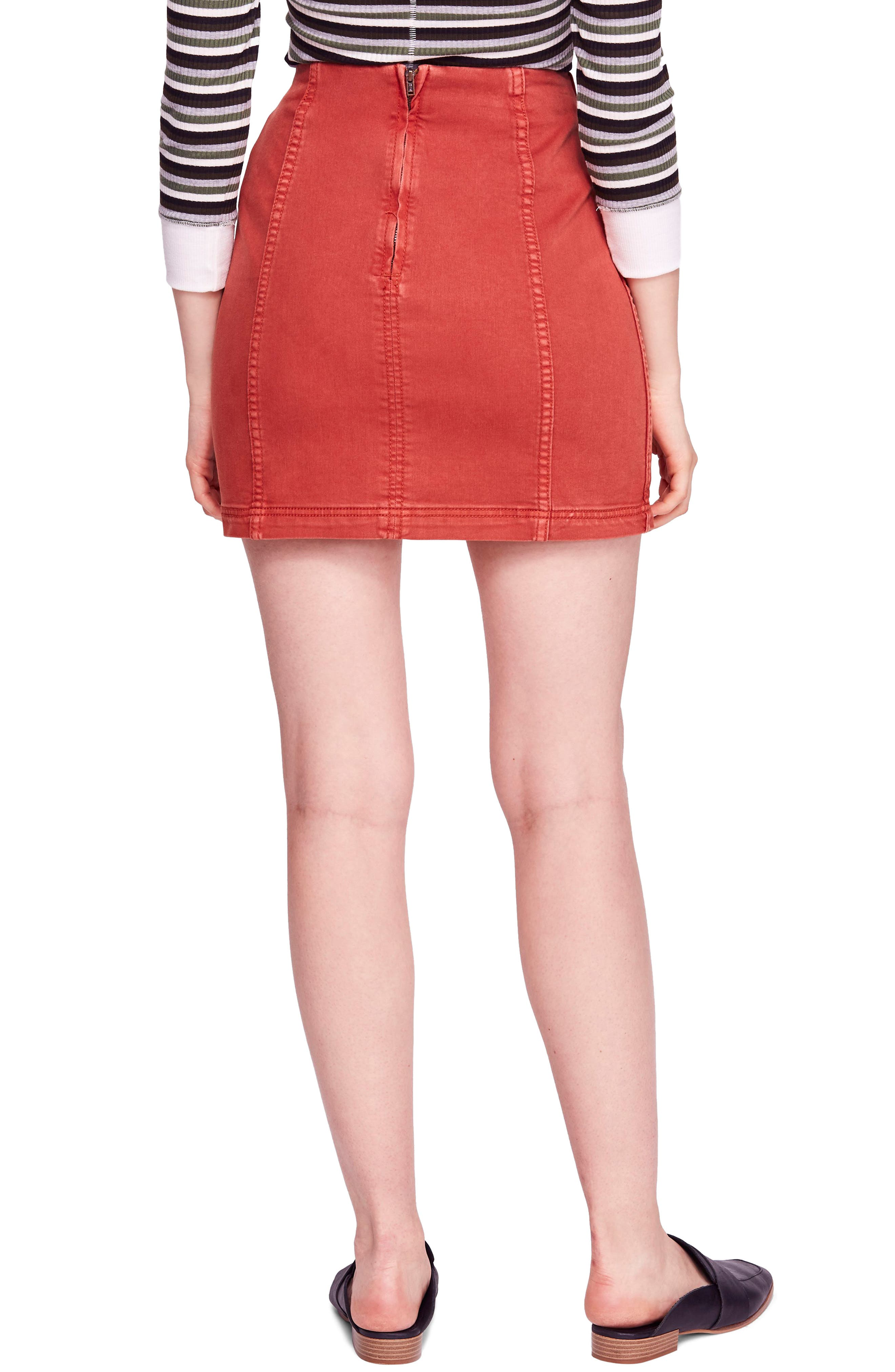 FREE PEOPLE, We the Free by Free People Modern Denim Skirt, Alternate thumbnail 2, color, TERRACOTTA