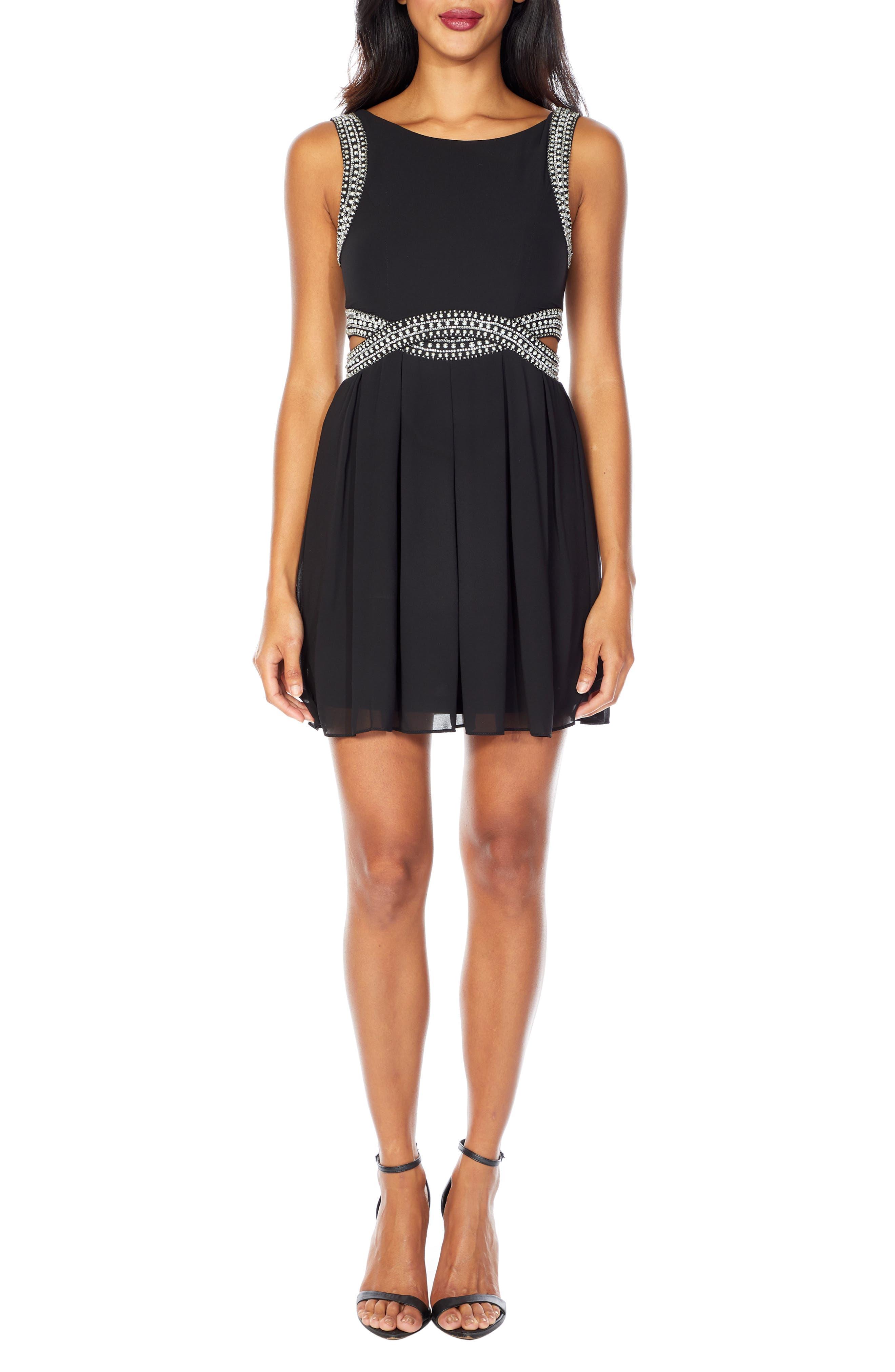 TFNC, Malaga Beaded Minidress, Main thumbnail 1, color, BLACK
