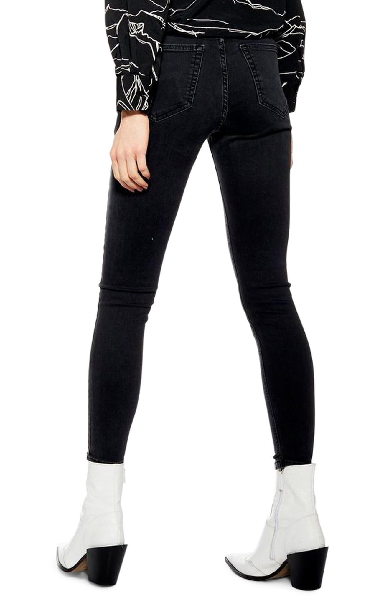 TOPSHOP, Jamie Moto Skinny Jeans, Alternate thumbnail 2, color, WASHED BLACK