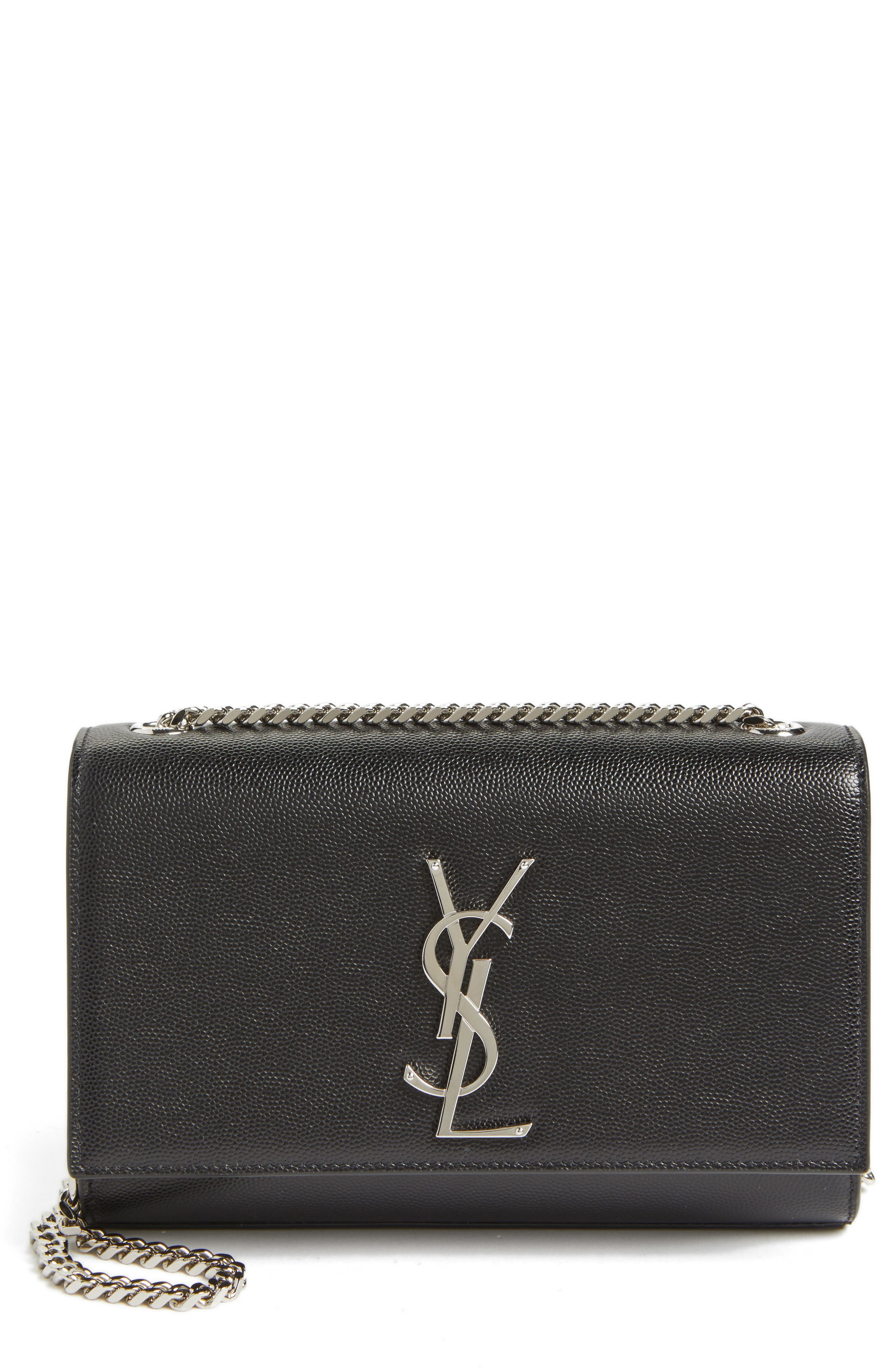 SAINT LAURENT Small Kate Grained Leather Crossbody Bag, Main, color, NOIR