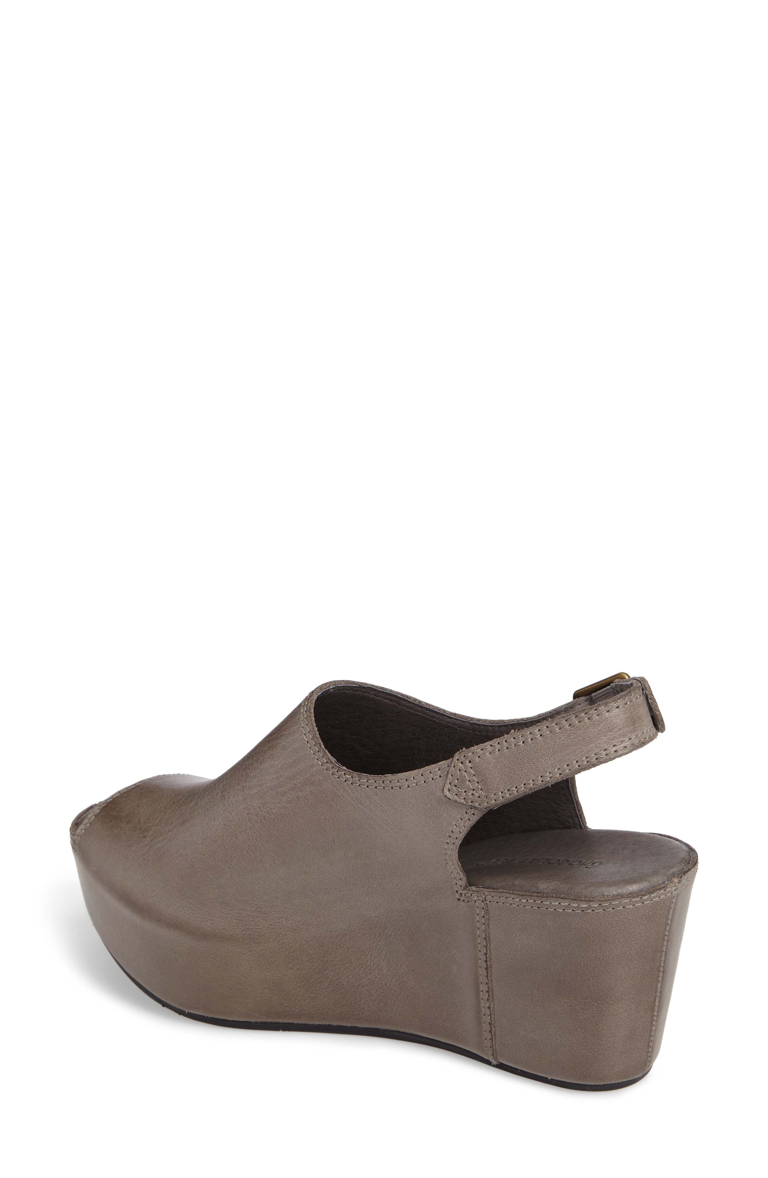 CHOCOLAT BLU, Willow Slingback Wedge, Alternate thumbnail 2, color, GRAPHITE LEATHER