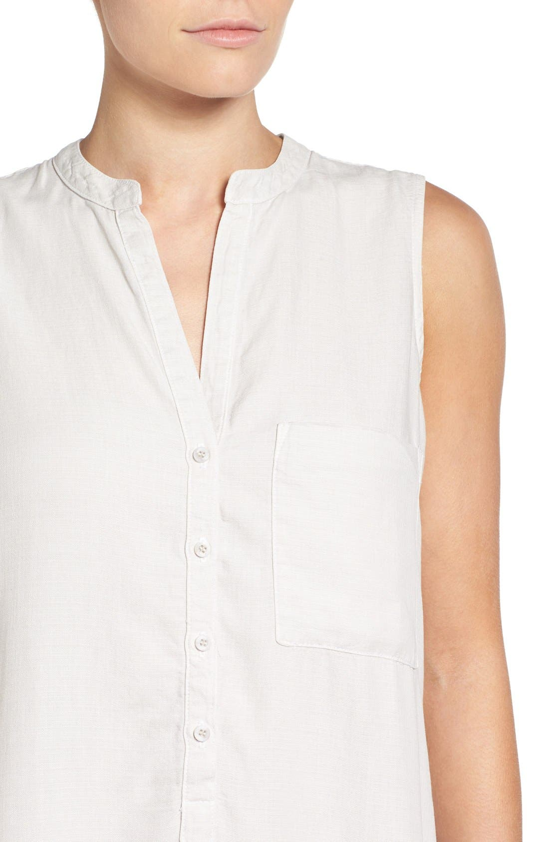 SIDE STITCH, Sleeveless Band Collar Shirtdress, Alternate thumbnail 5, color, 020