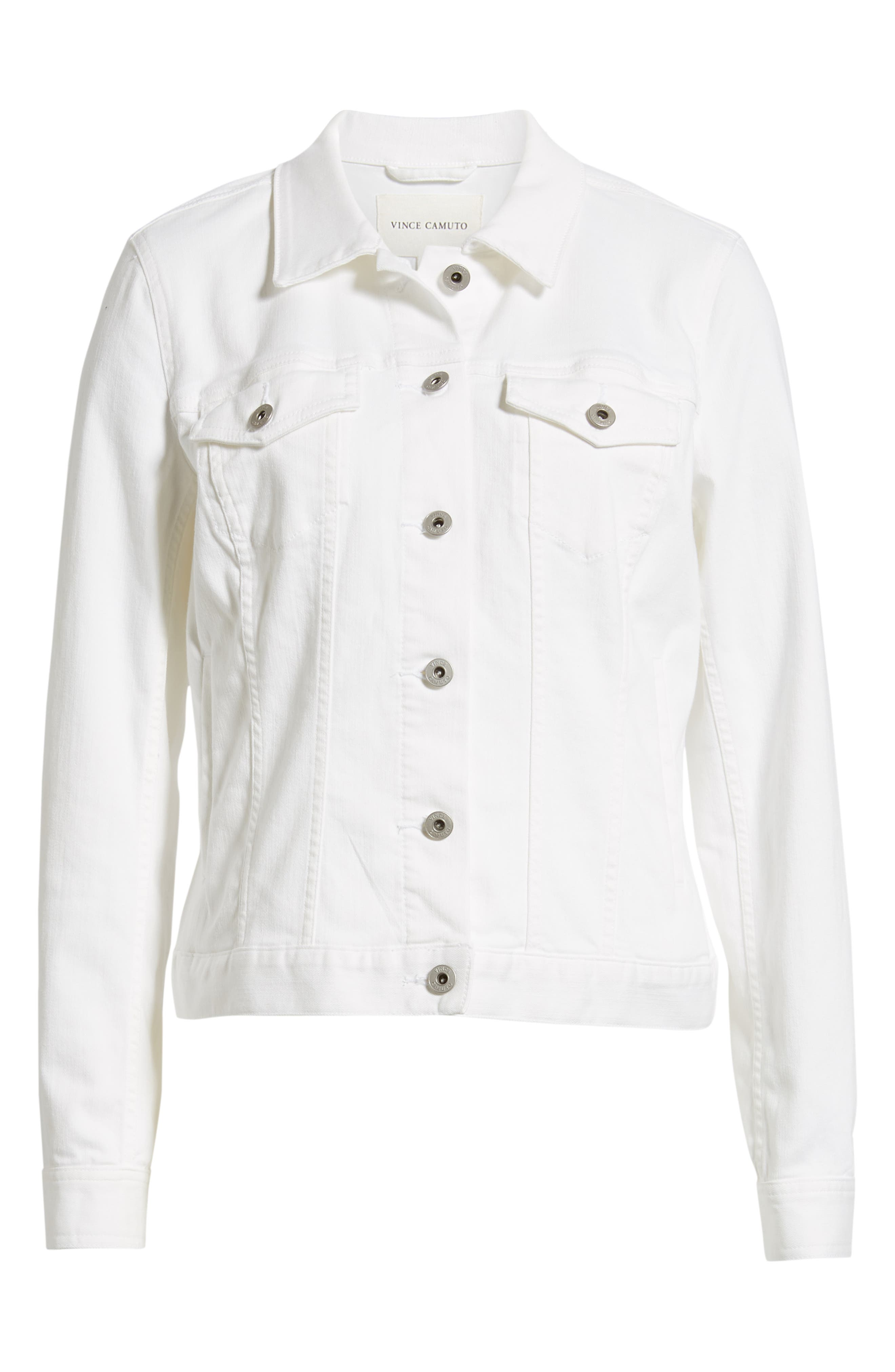 VINCE CAMUTO, Two by Vince Camuto Denim Jacket, Alternate thumbnail 6, color, ULTRA WHITE