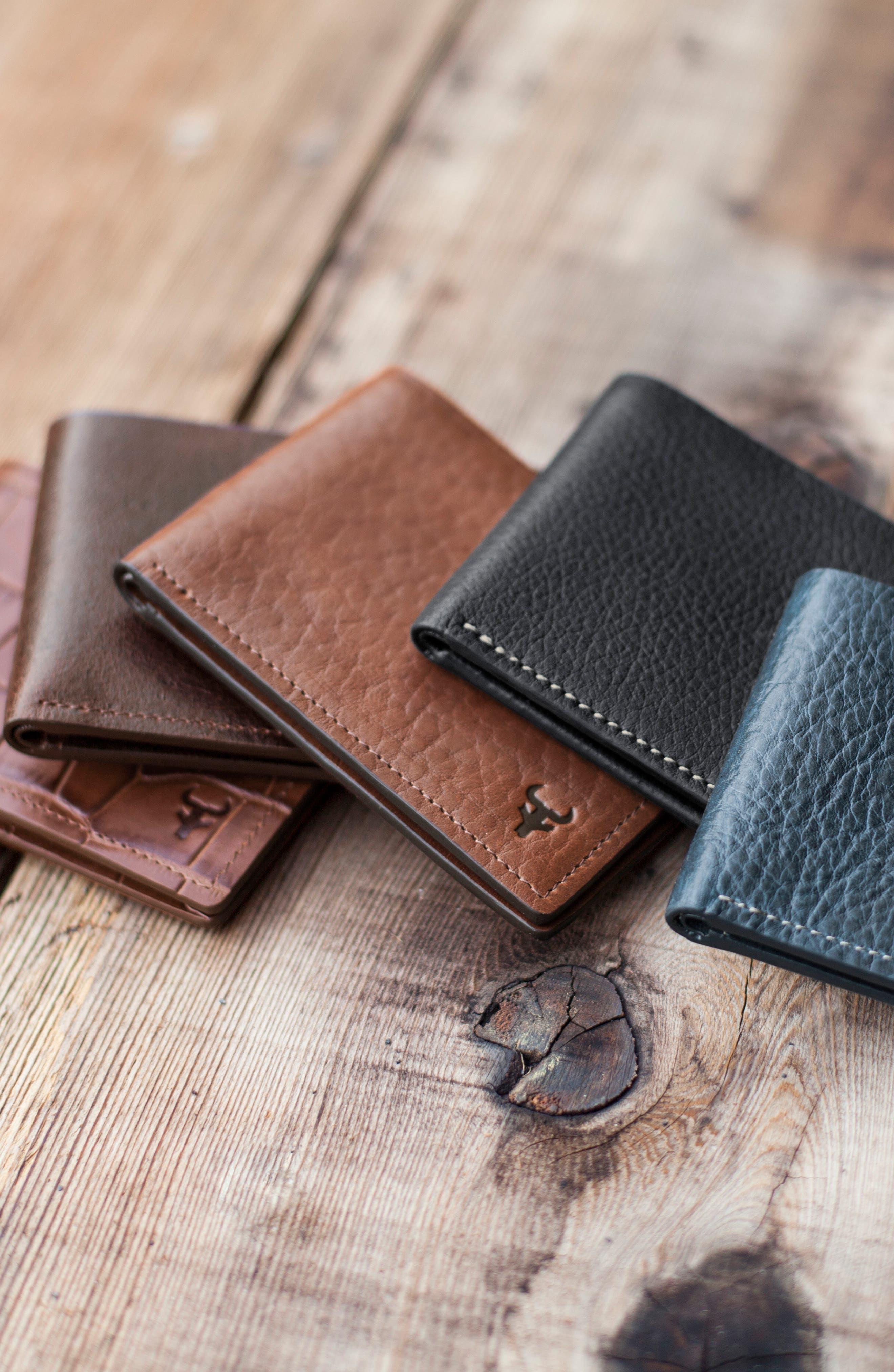 TRASK, 'Jackson' Super Slim Leather Wallet, Alternate thumbnail 5, color, SCOTCH