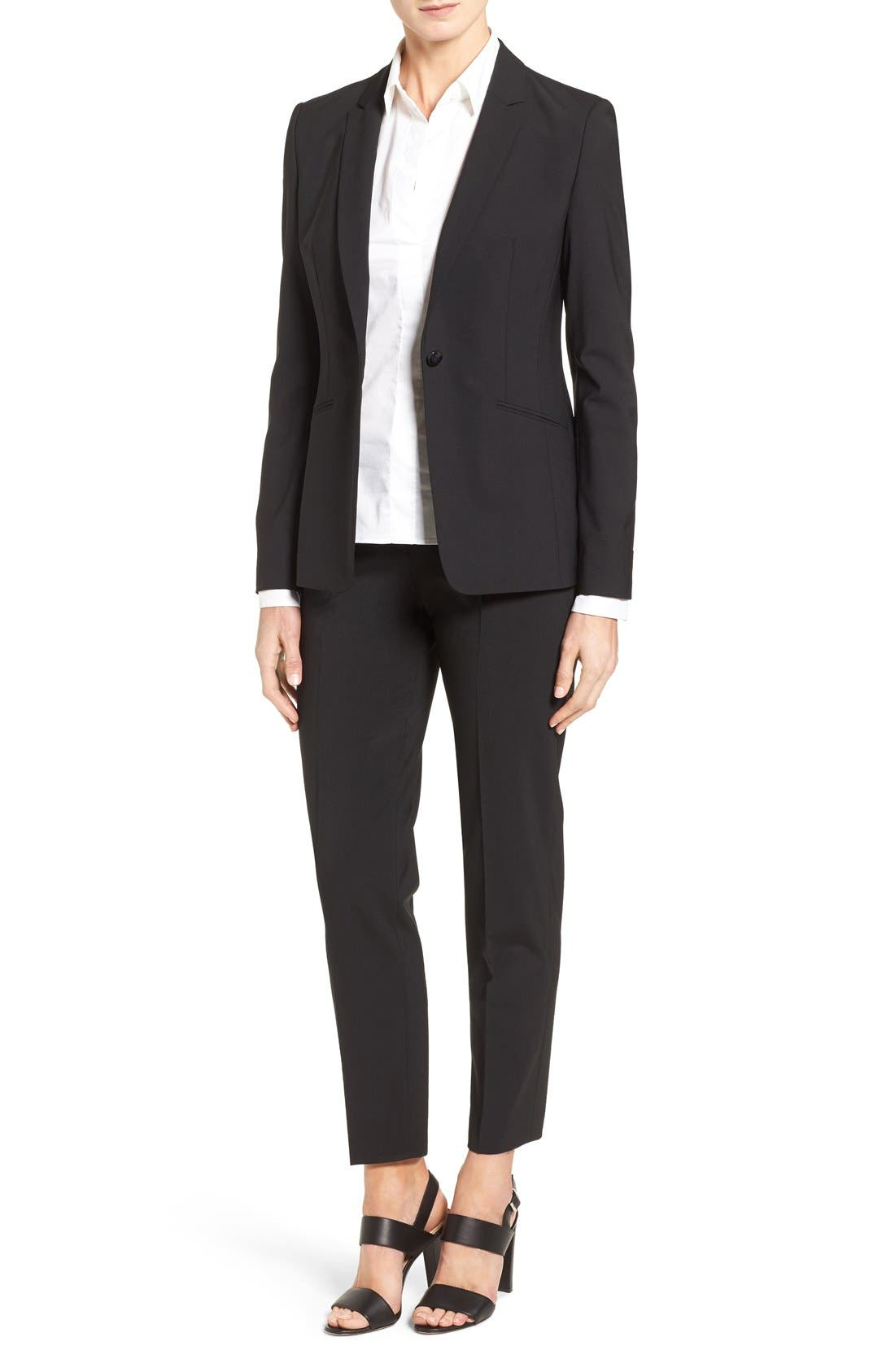 BOSS, Jabina Tropical Stretch Wool Jacket, Alternate thumbnail 11, color, BLACK