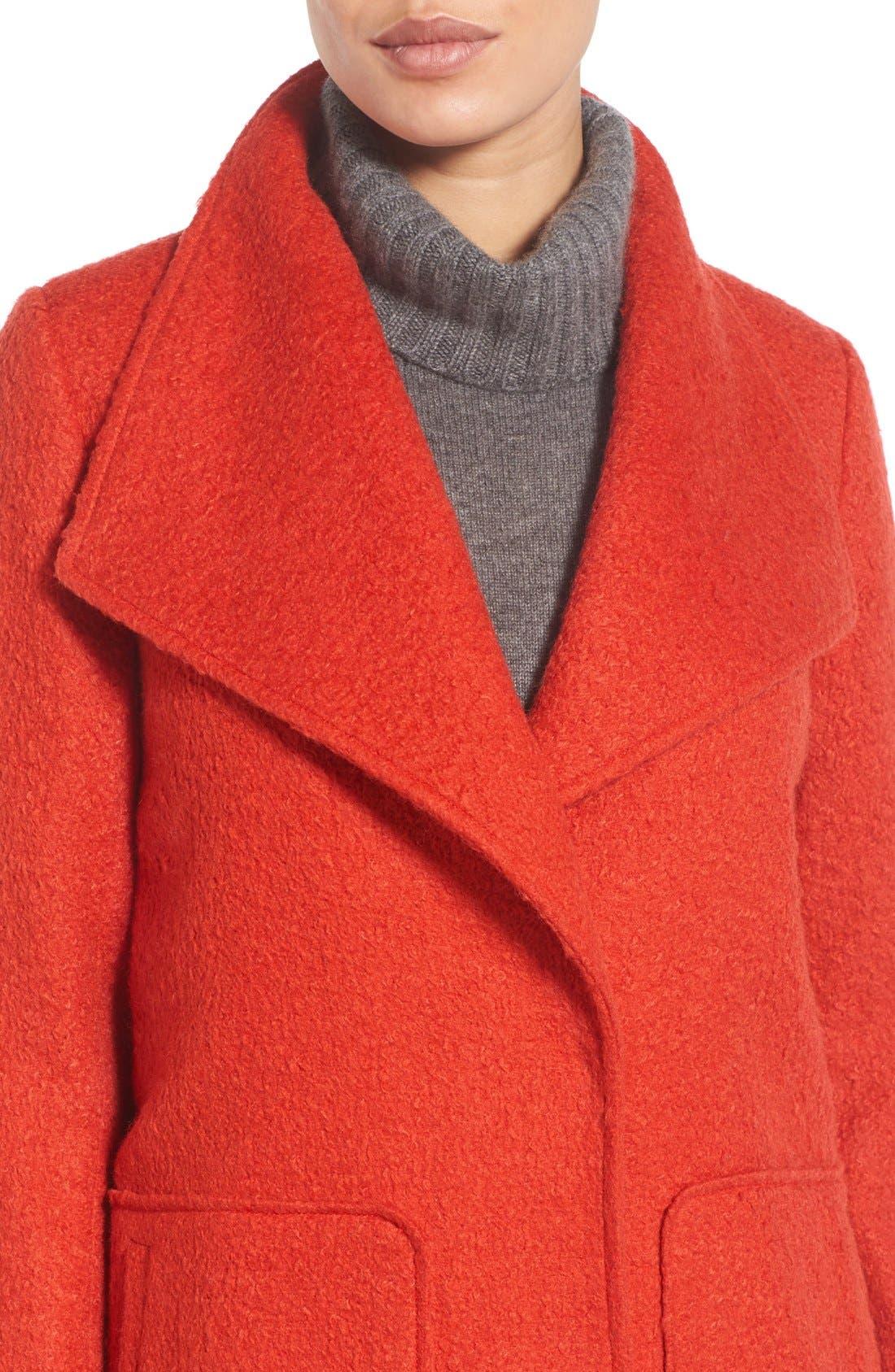BERNARDO, Textured Long Coat, Alternate thumbnail 4, color, 852