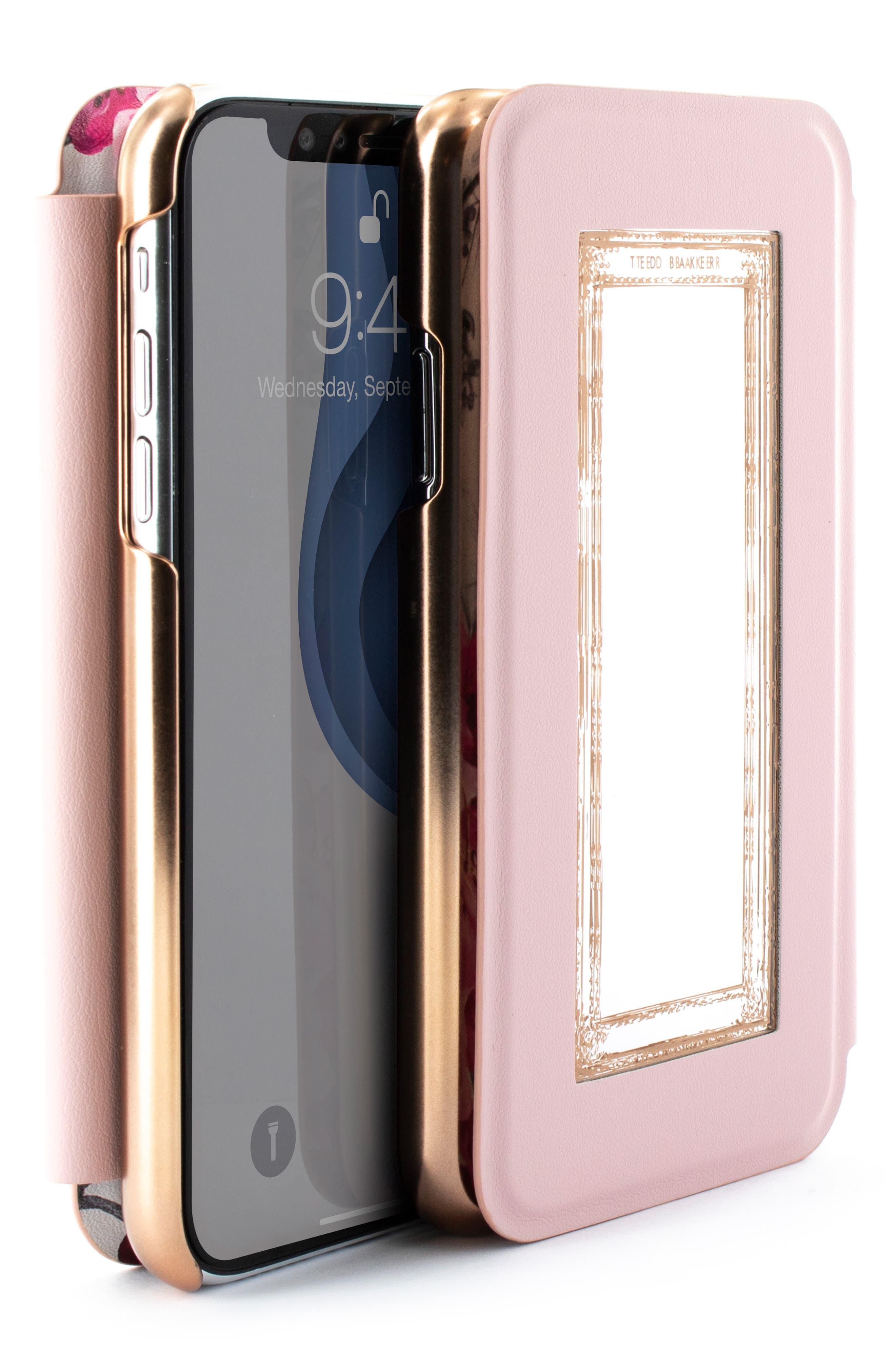 TED BAKER LONDON, Babylon iPhone X/Xs/Xs Max & XR Mirror Folio Case, Alternate thumbnail 8, color, GREY
