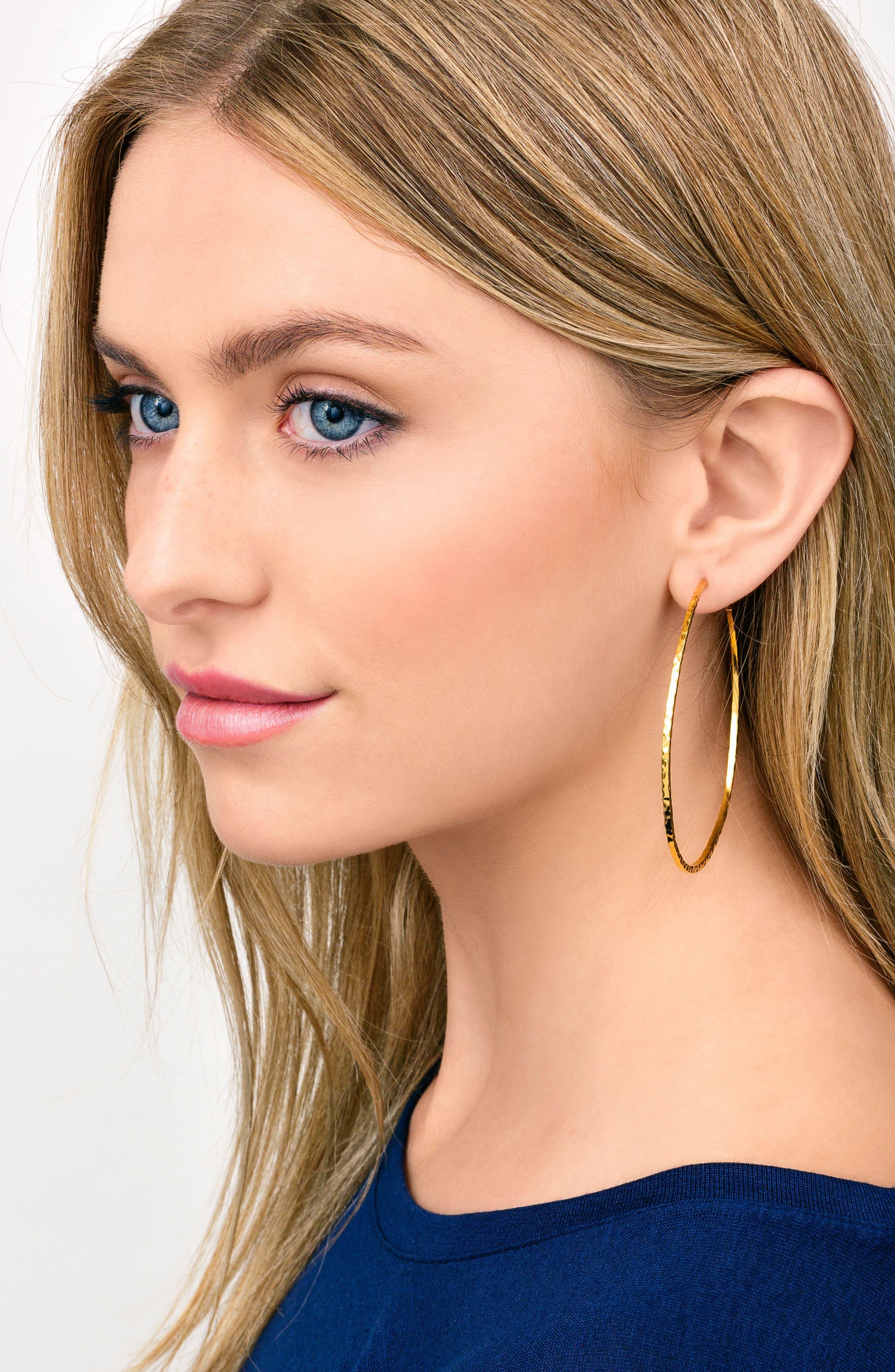 GORJANA, Taner Extra Large Hoop Earrings, Alternate thumbnail 2, color, SILVER