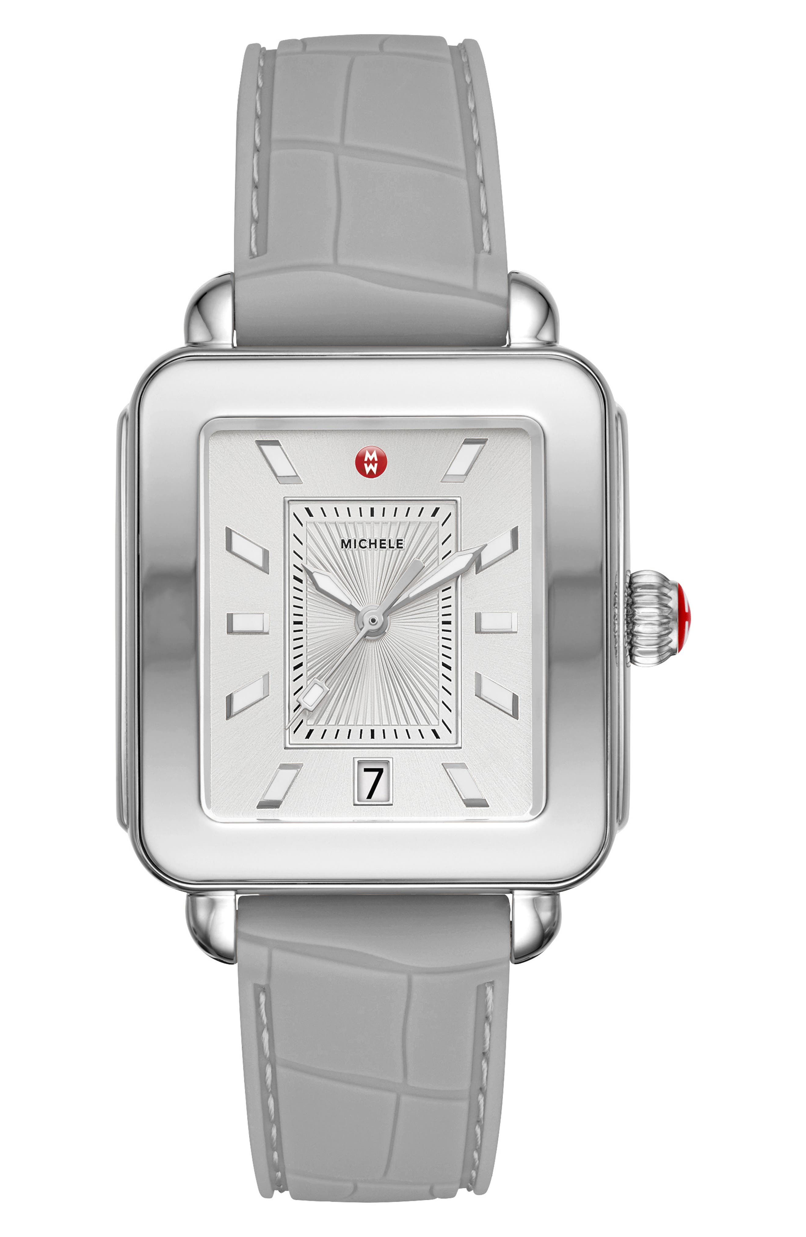 MICHELE Deco Sport Watch Head & Silicone Strap Watch, 34mm x 36mm, Main, color, GREY/ WHITE/ SILVER