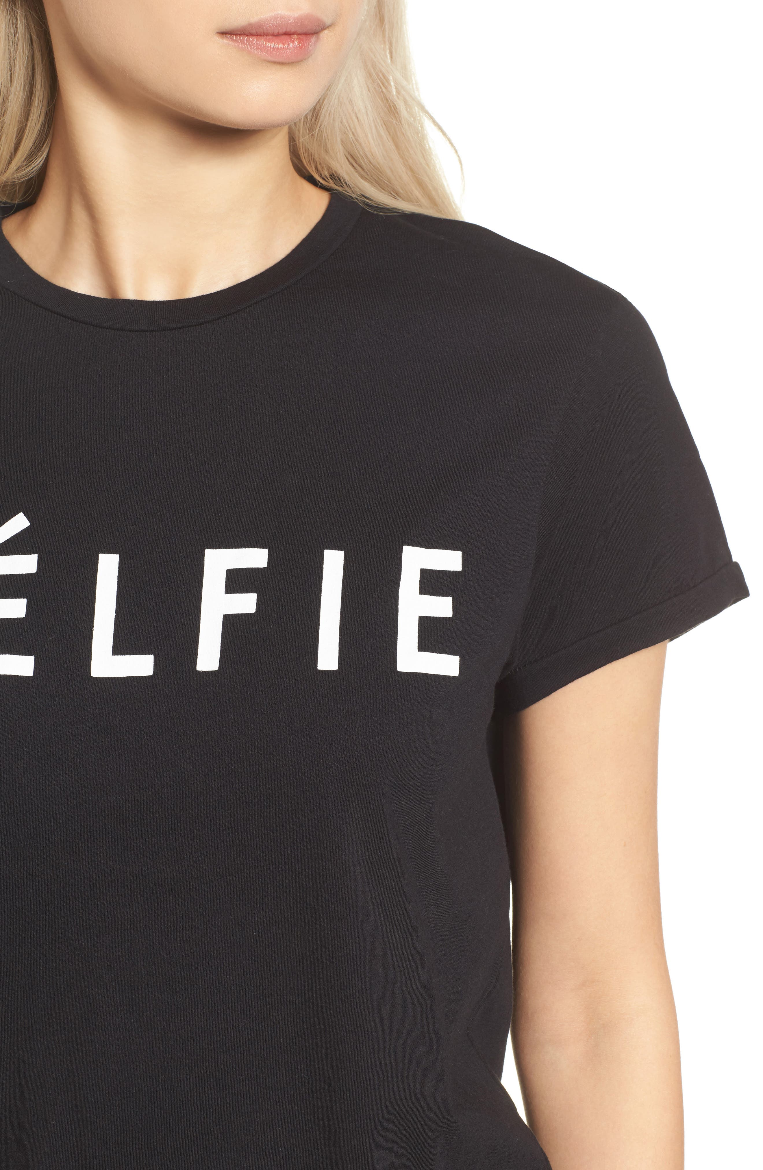 SINCERELY JULES, 'Célfie' Graphic Tee, Alternate thumbnail 4, color, 001