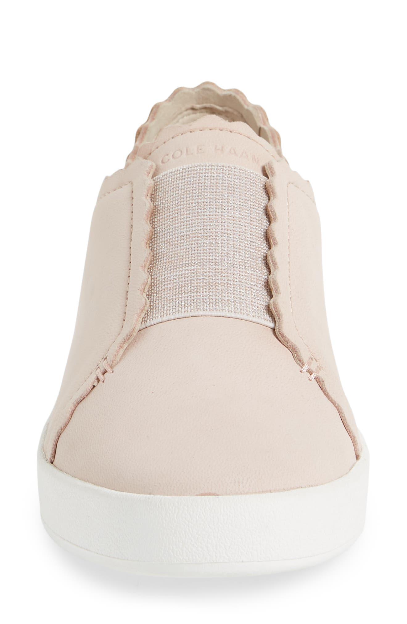 COLE HAAN, GrandPro Spectator Scalloped Slip-On Sneaker, Alternate thumbnail 4, color, PEACH BLUSH NUBUCK