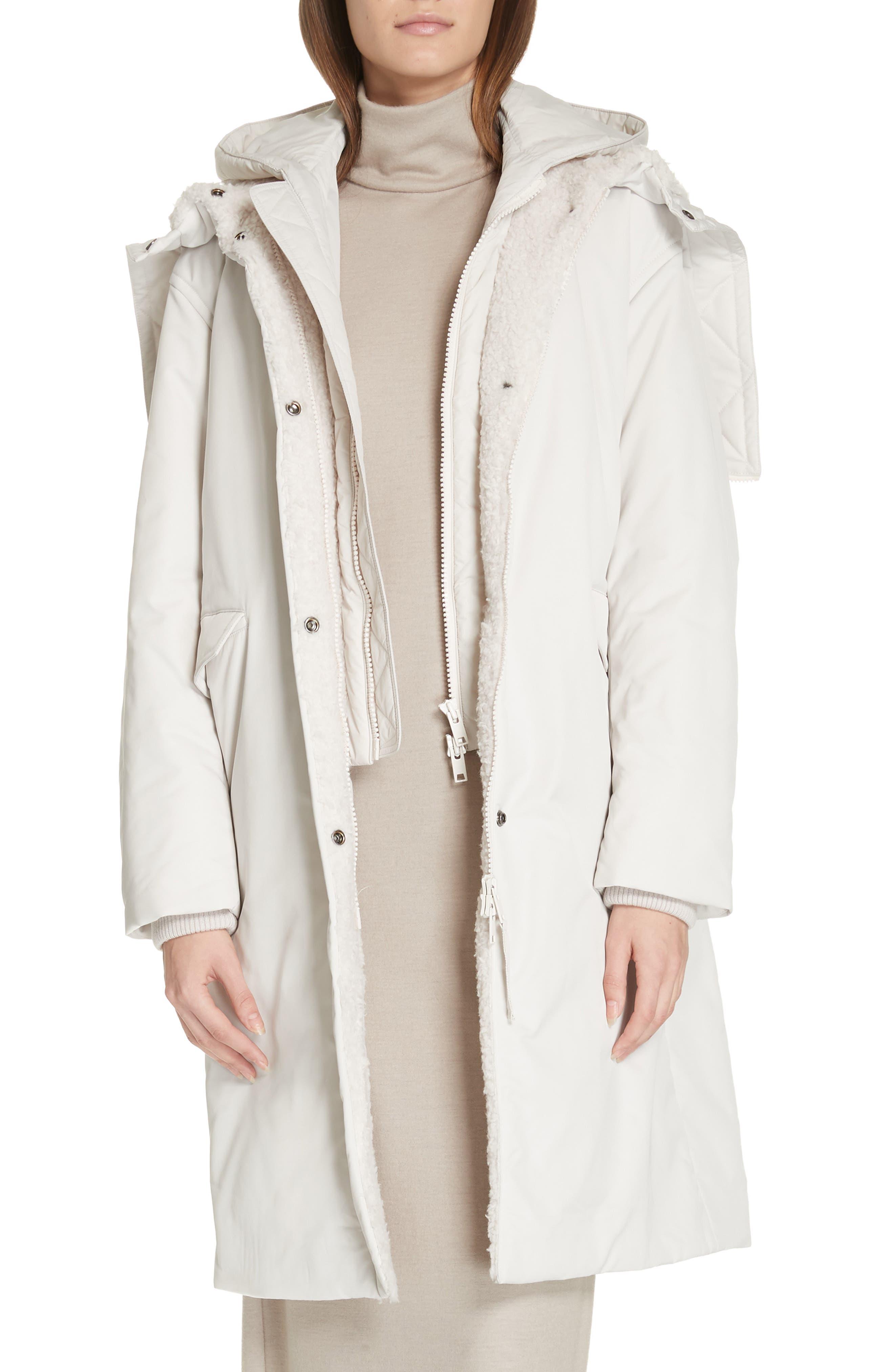 VINCE, Faux Fur Trim Puffer Coat, Main thumbnail 1, color, LUCITE