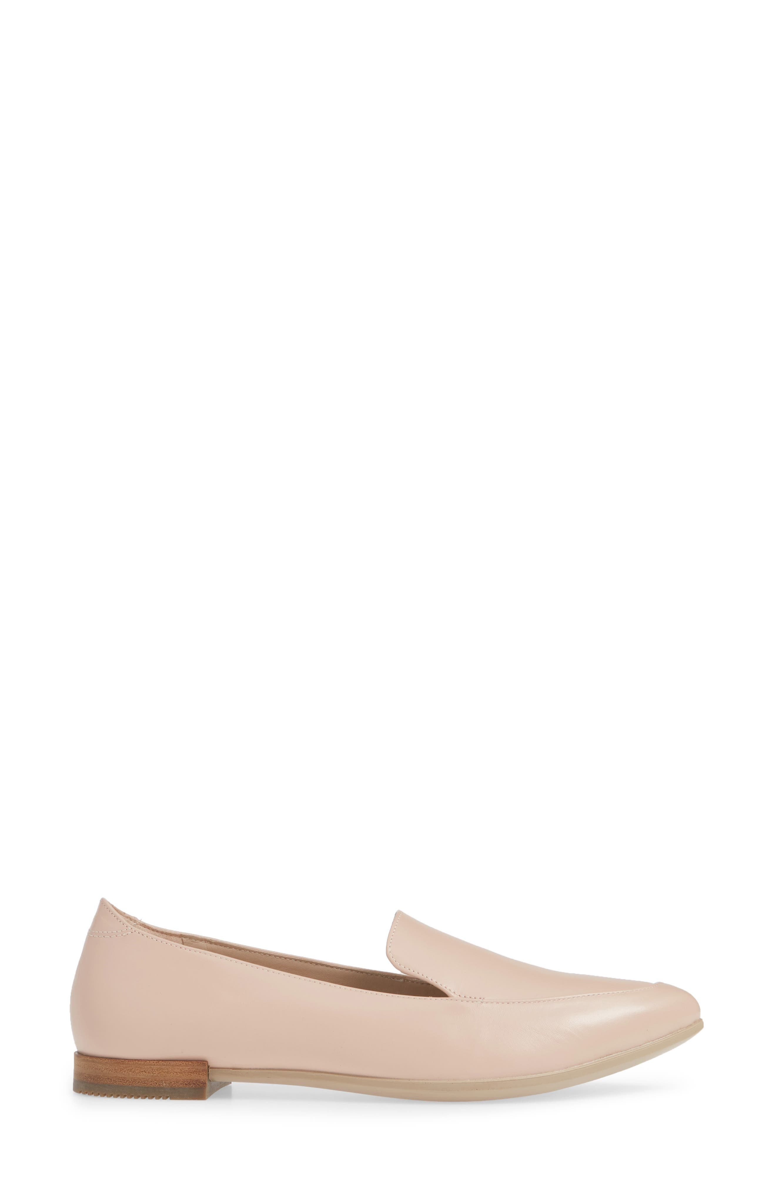 ECCO, Shape Pointy Ballerina II Flat, Alternate thumbnail 3, color, ROSE DUST LEATHER