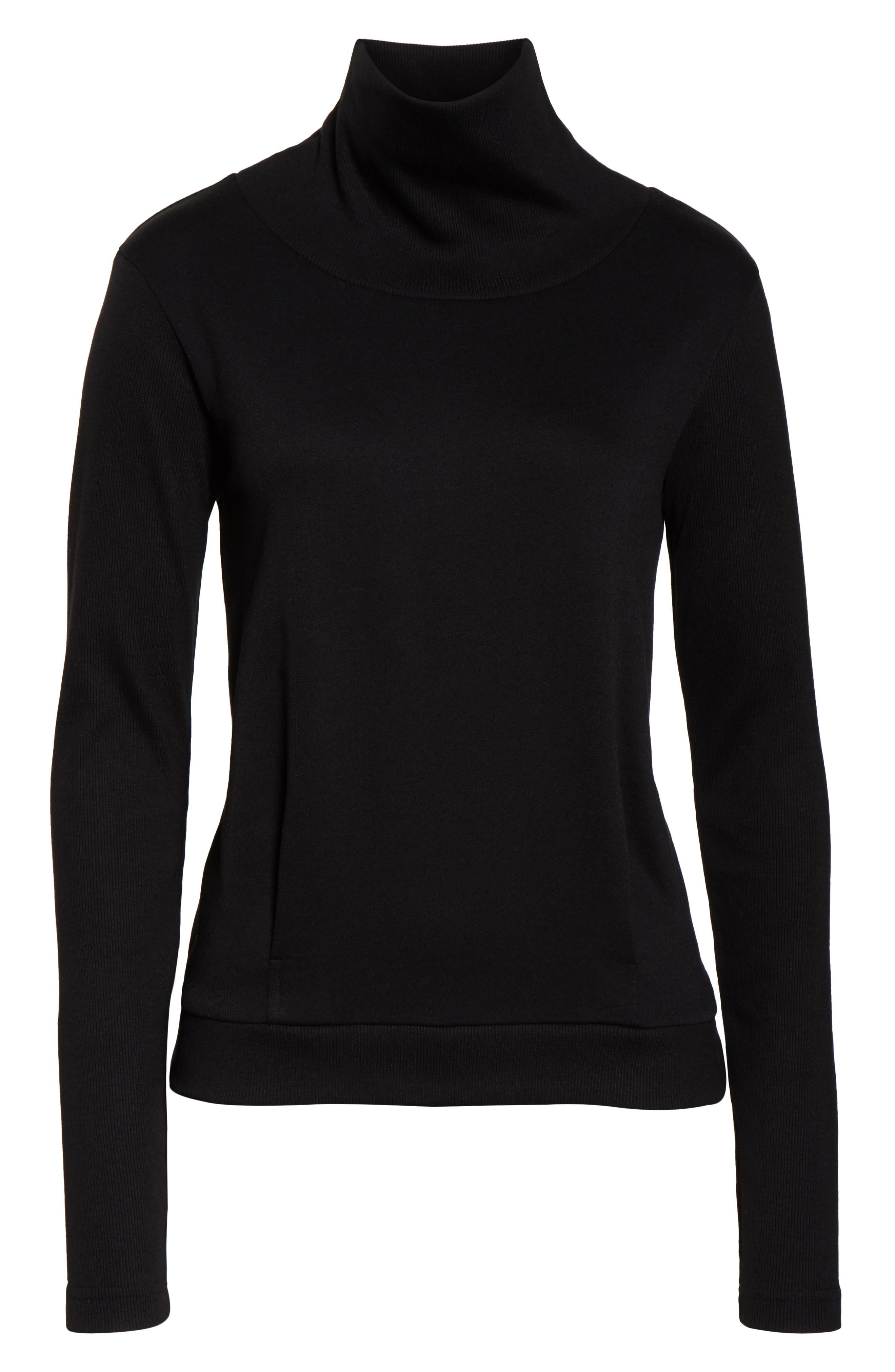 ALO, Clarity Long Sleeve Sweatshirt, Alternate thumbnail 7, color, BLACK