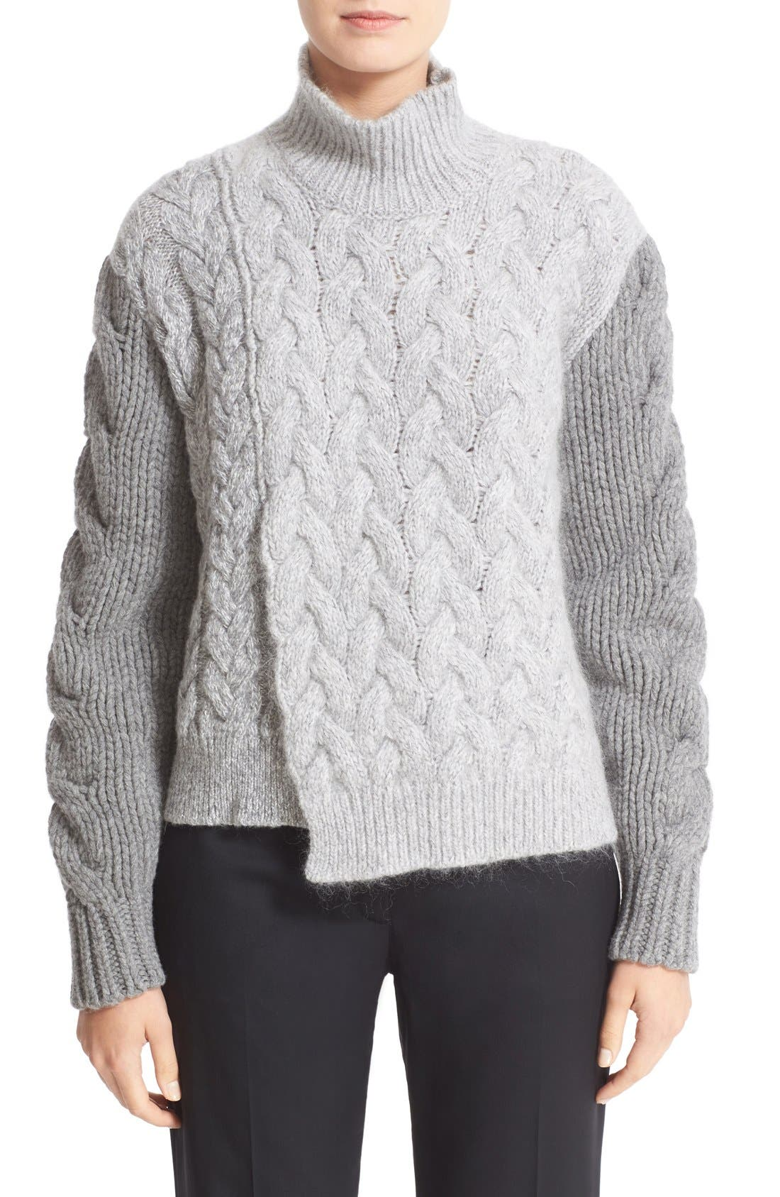 STELLA MCCARTNEY Mixed Media Turtleneck Sweater, Main, color, 120