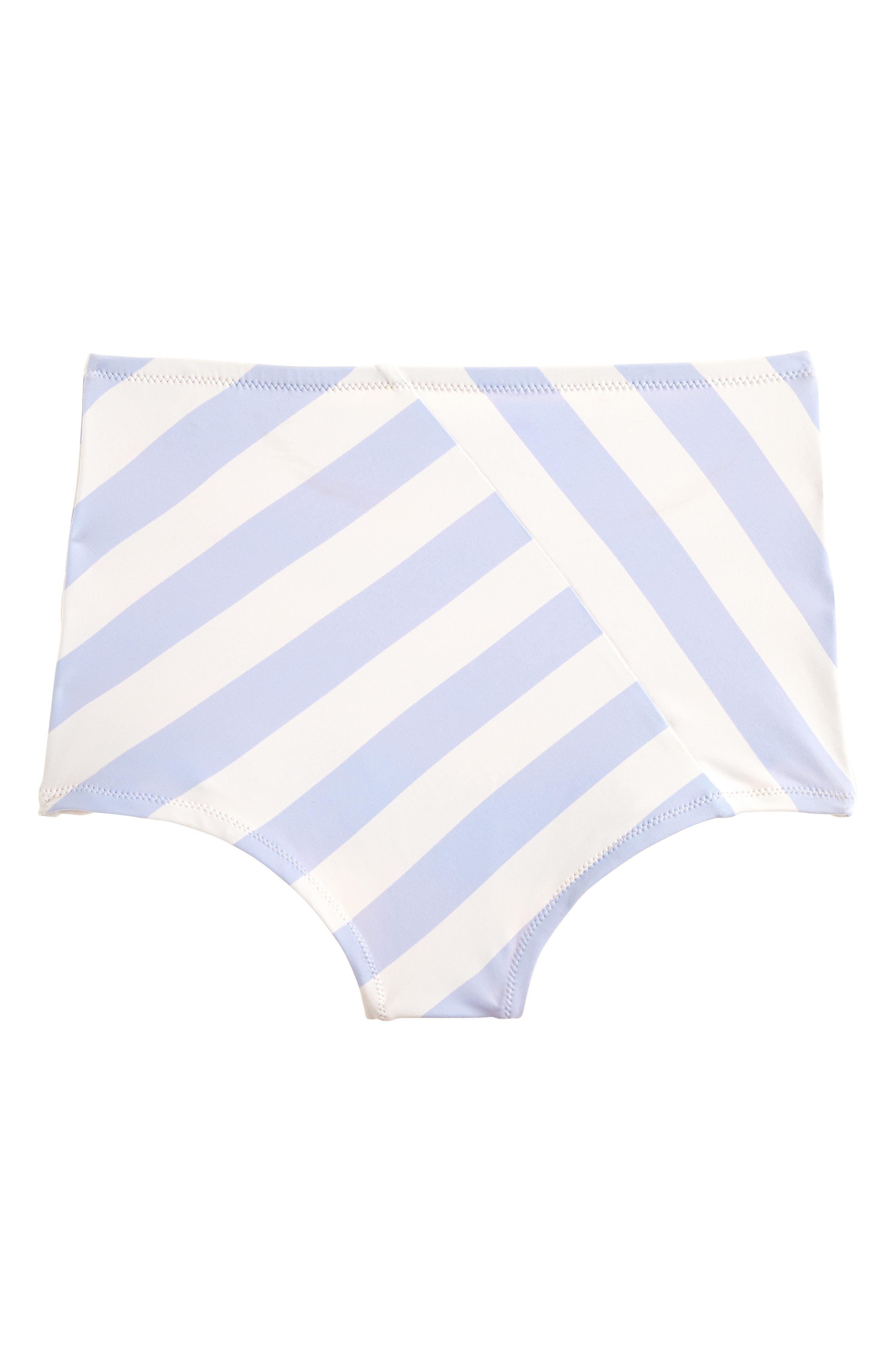 J.CREW, Stripe Seamless High Waist Bikini Bottoms, Alternate thumbnail 3, color, 400