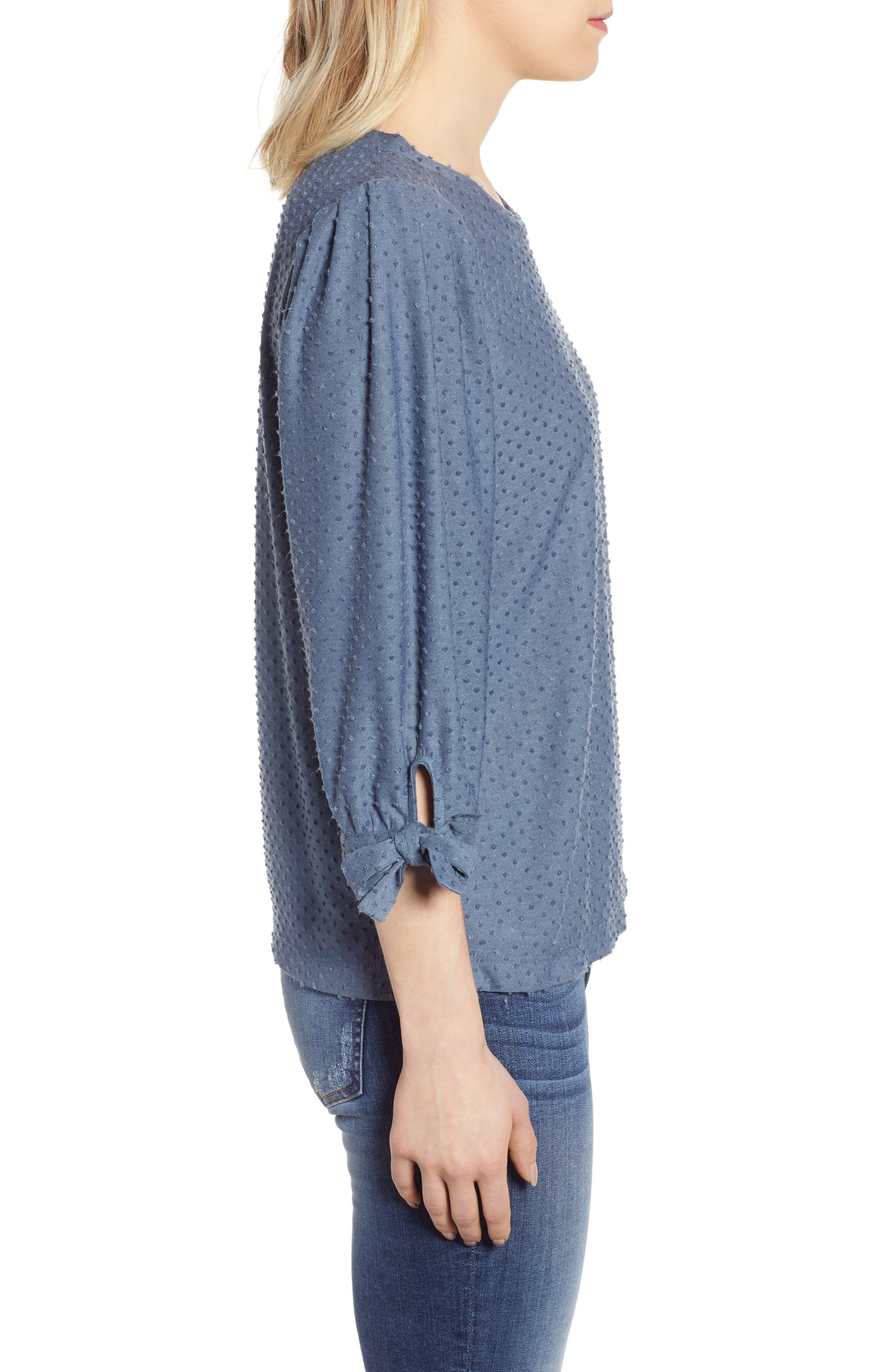 GIBSON, x International Women's Day Ruthie Clip Dot Tie Sleeve Blouse, Alternate thumbnail 3, color, DENIM