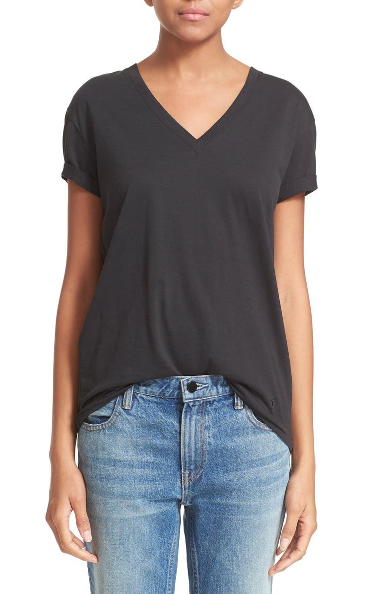 3e375f723391 T T by Alexander Wang V-Neck Superfine Jersey Tee, Main, color