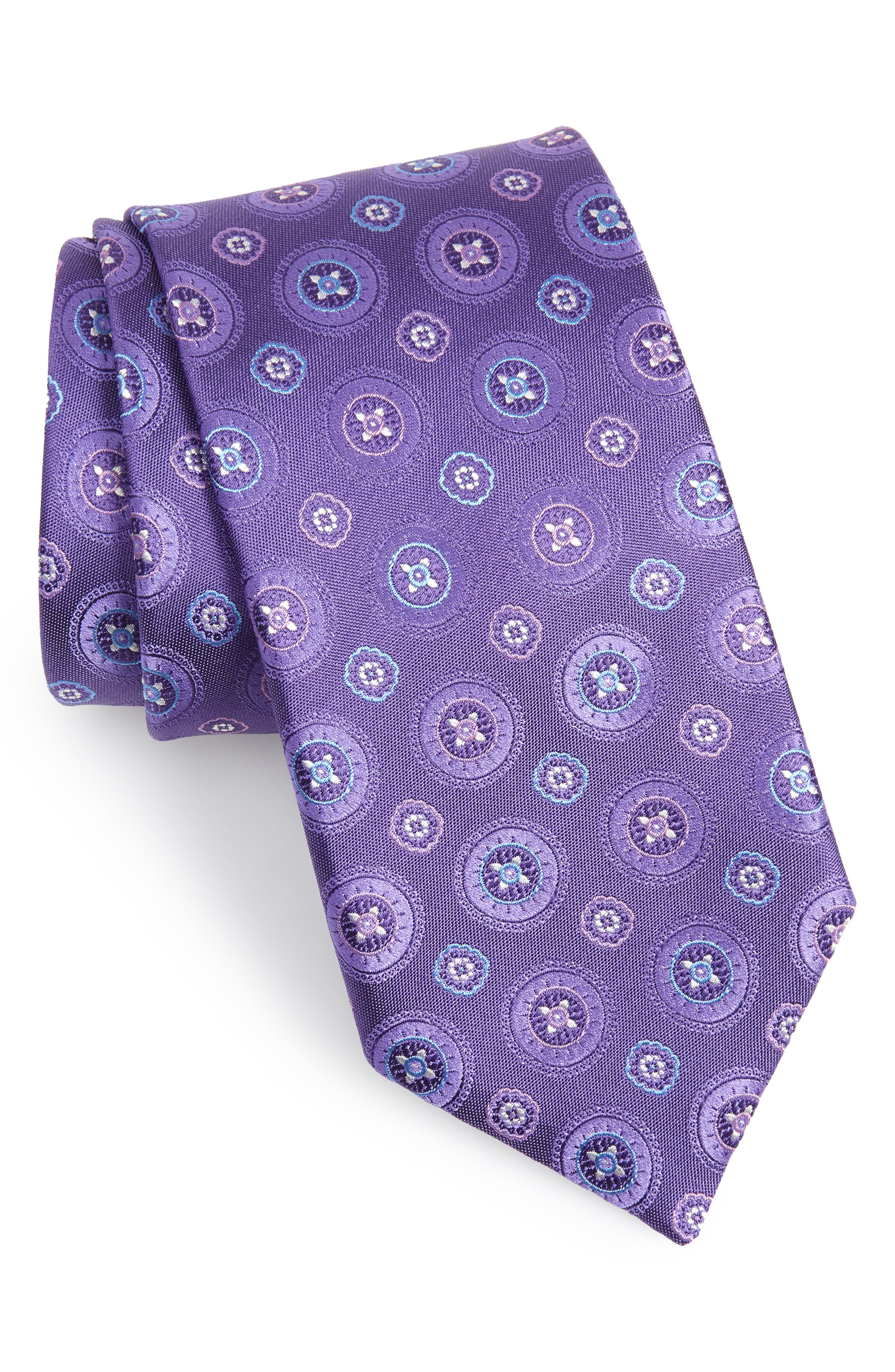 CANALI Medallion Silk Tie, Main, color, LIGHT PURPLE