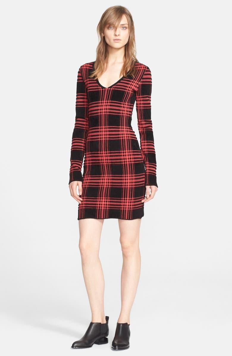 63a6fc259b Alexander Wang Plaid V-Neck Sweater Dress