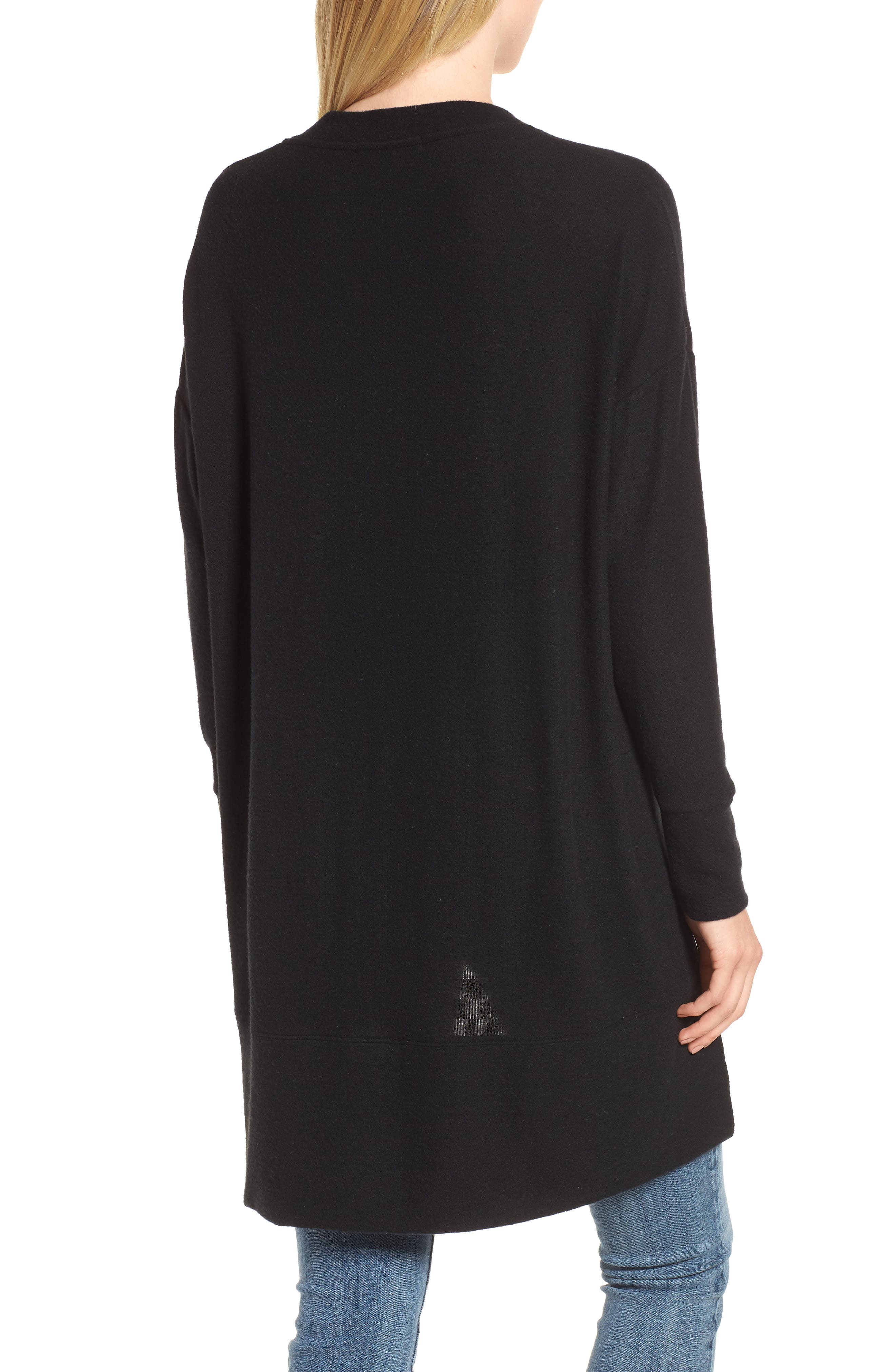 GIBSON, High/Low Easy Cardigan, Alternate thumbnail 2, color, BLACK