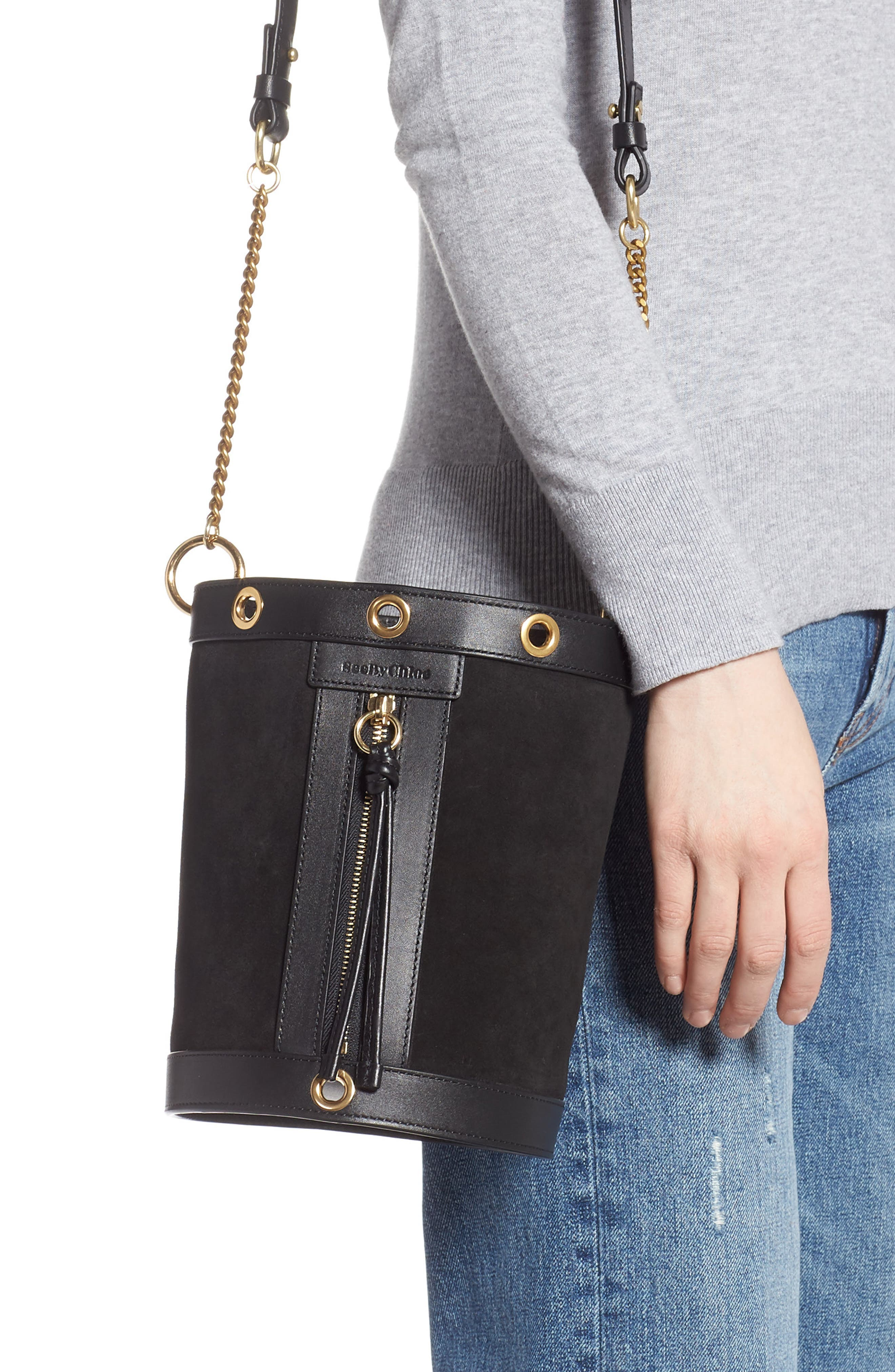 SEE BY CHLOÉ, Debbie Leather Bucket Bag, Alternate thumbnail 2, color, 001