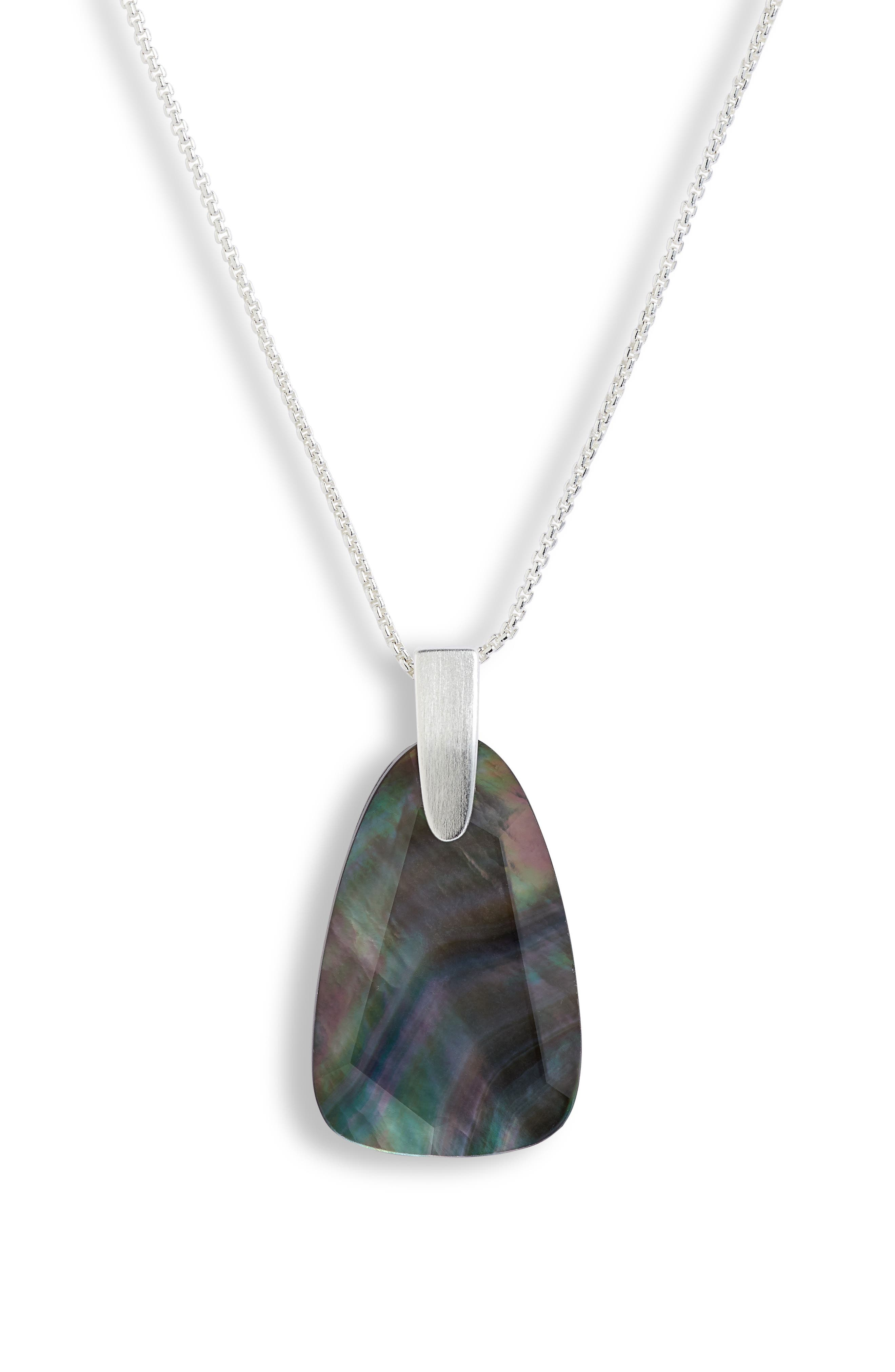 KENDRA SCOTT, Maeve Long Stone Pendant Necklace, Alternate thumbnail 3, color, BRIGHT SILVER/ BLACK MOP