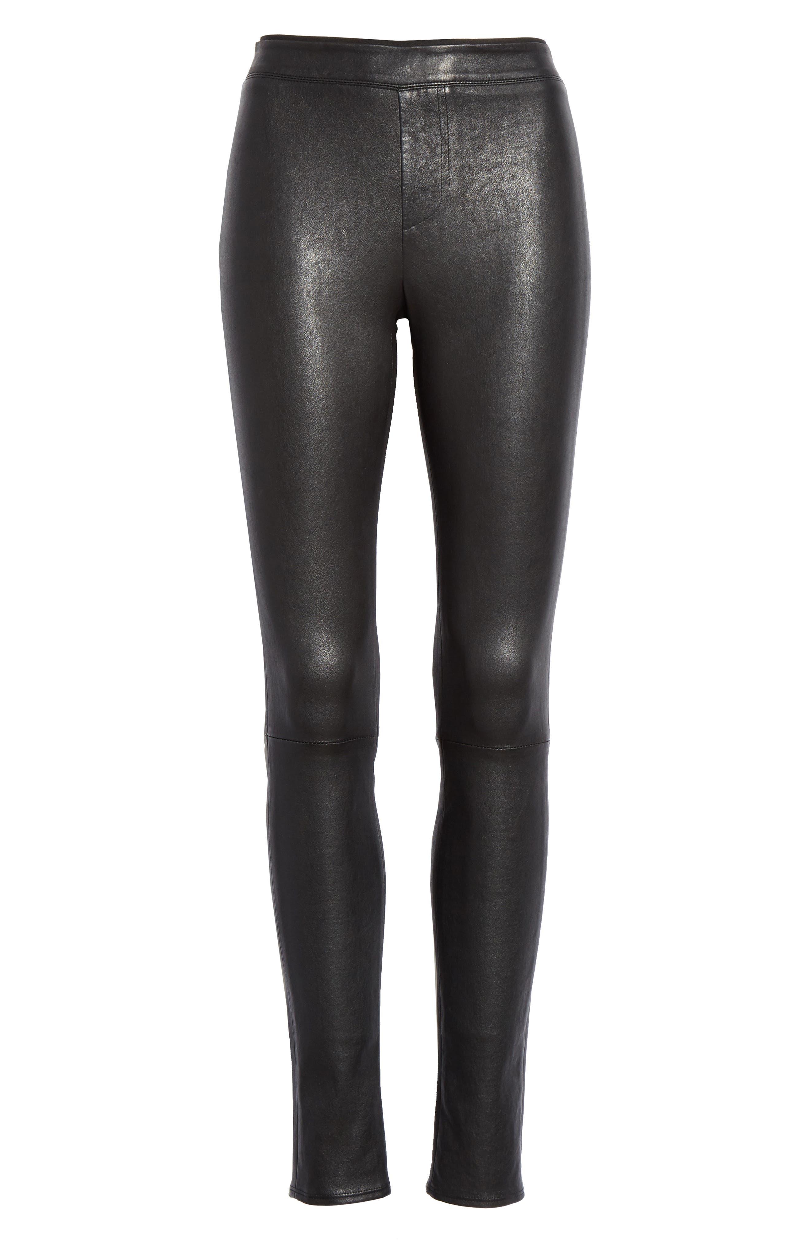 HELMUT LANG, Stretch Lambskin Leather Leggings, Alternate thumbnail 7, color, BLACK