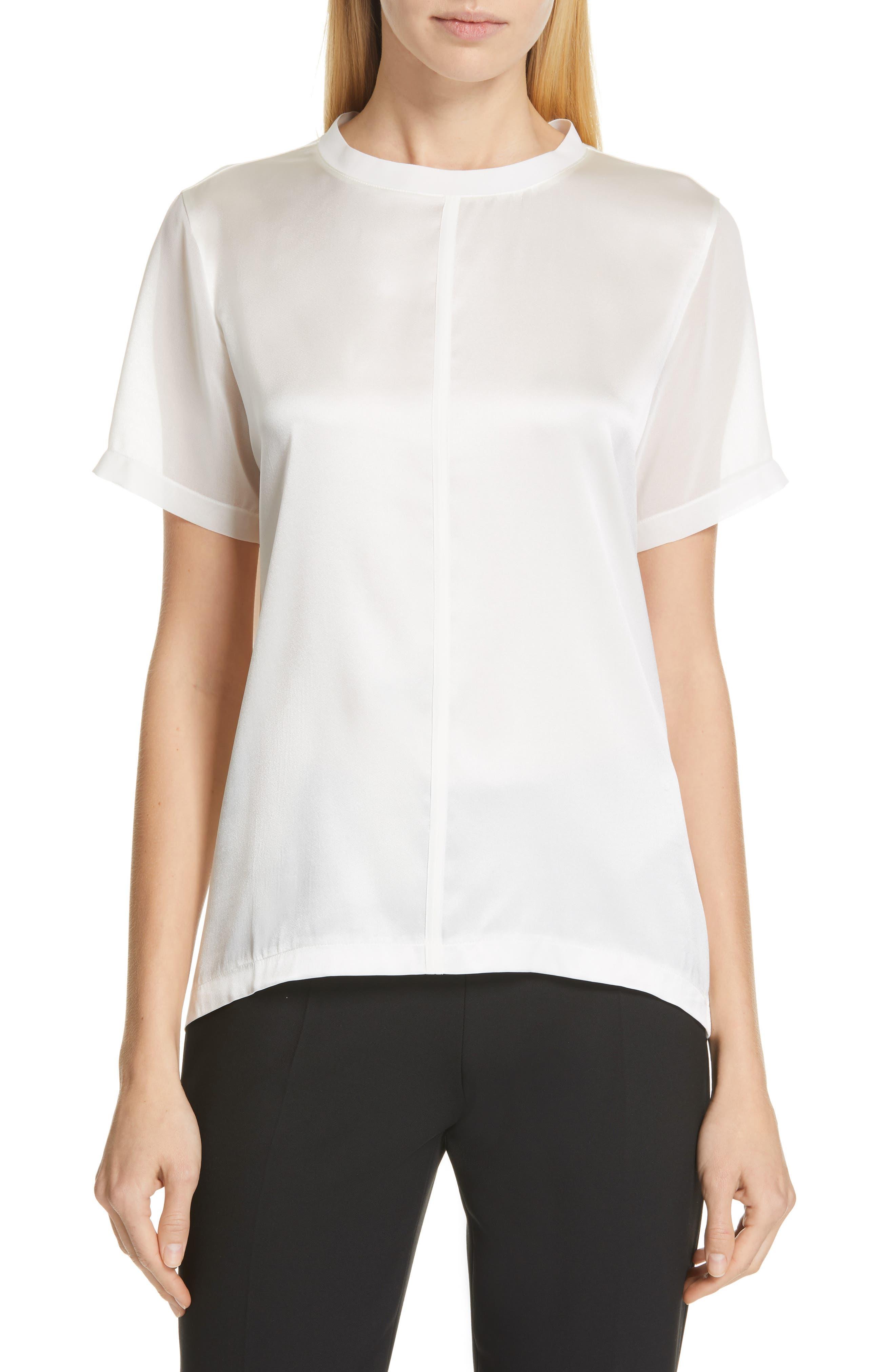BOSS Efrona Sheer Sleeve Top, Main, color, 112