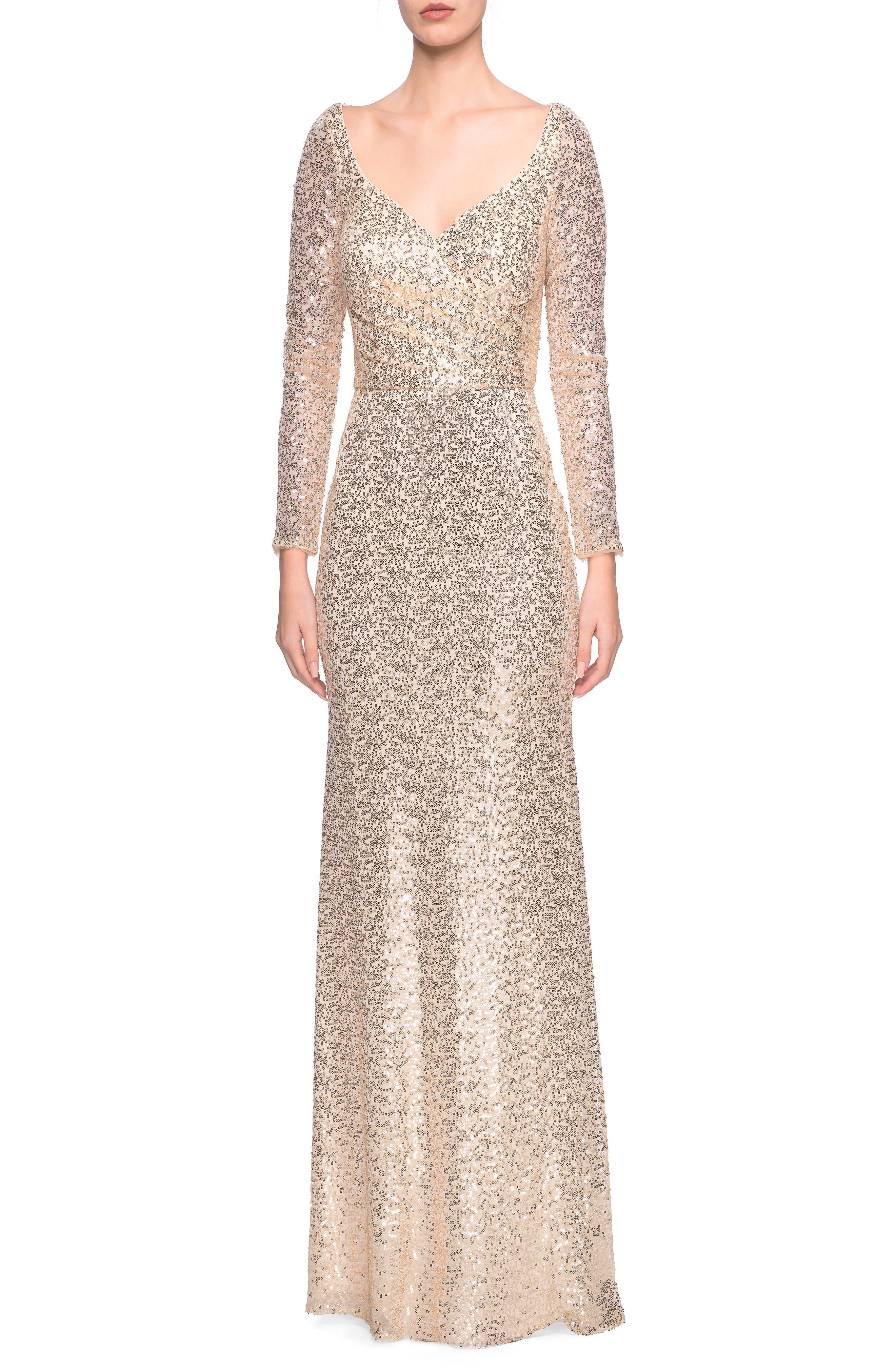 La Femme Wrap Bodice Sequin Evening Dress, 0 (similar to 20W-2) - Yellow