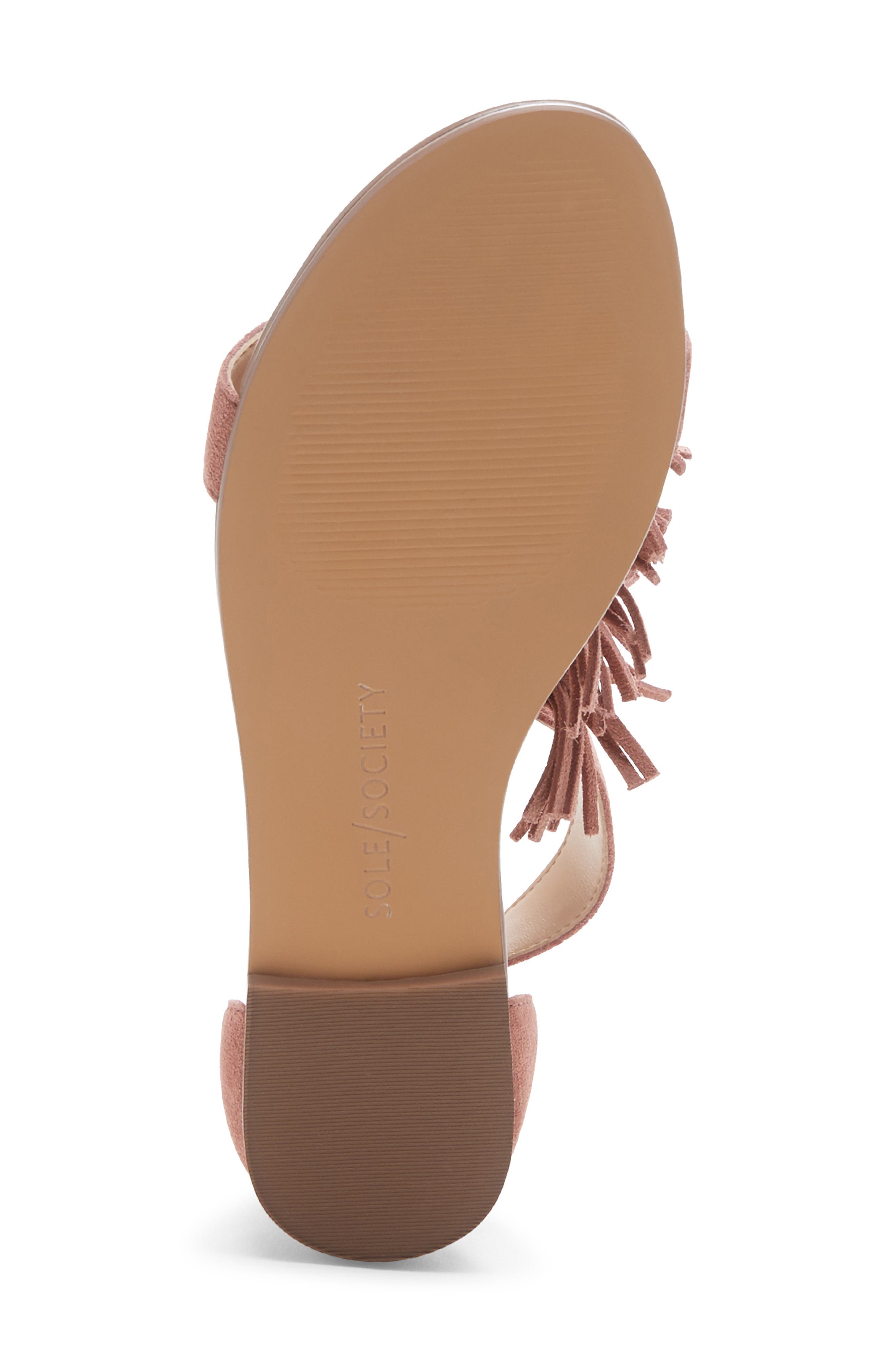 SOLE SOCIETY, 'Koa' Fringe T-Strap Flat Sandal, Alternate thumbnail 6, color, MOD MAUVE SUEDE