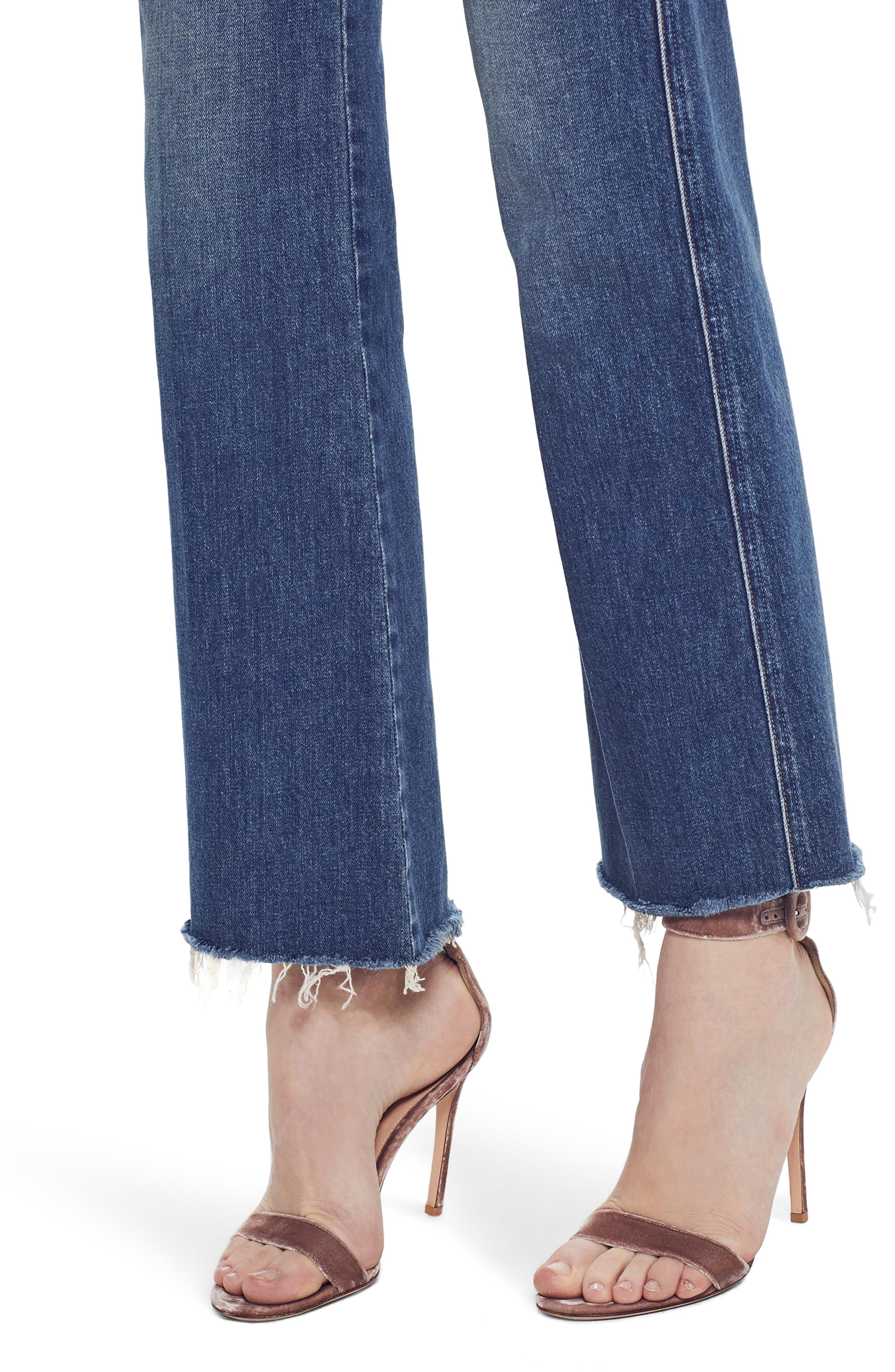 MOTHER, The Tripper Super High Waist Frayed Bootcut Jeans, Alternate thumbnail 5, color, JUST ONE SIP