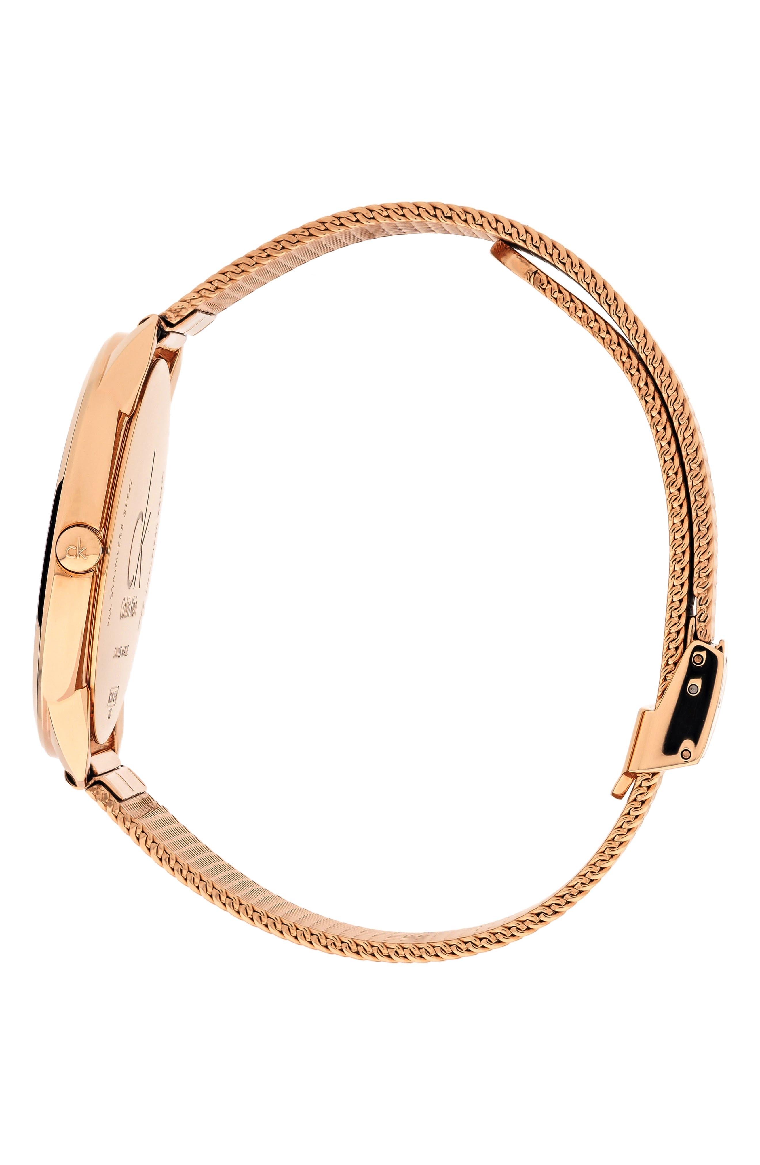 CALVIN KLEIN, Minimal Mesh Strap Watch, 40mm, Alternate thumbnail 3, color, ROSE GOLD/ BLACK/ ROSE GOLD
