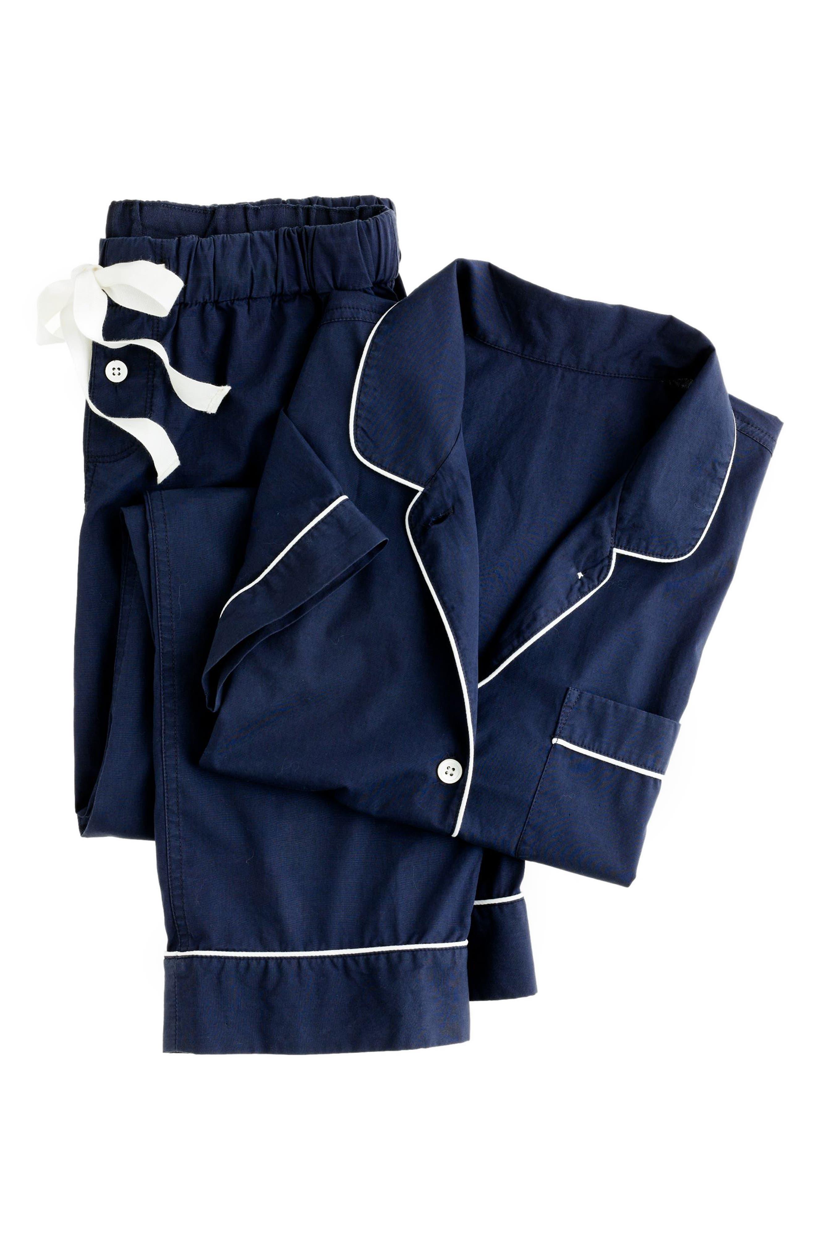 J.CREW, Vintage Cotton Pajamas, Alternate thumbnail 3, color, NAVY