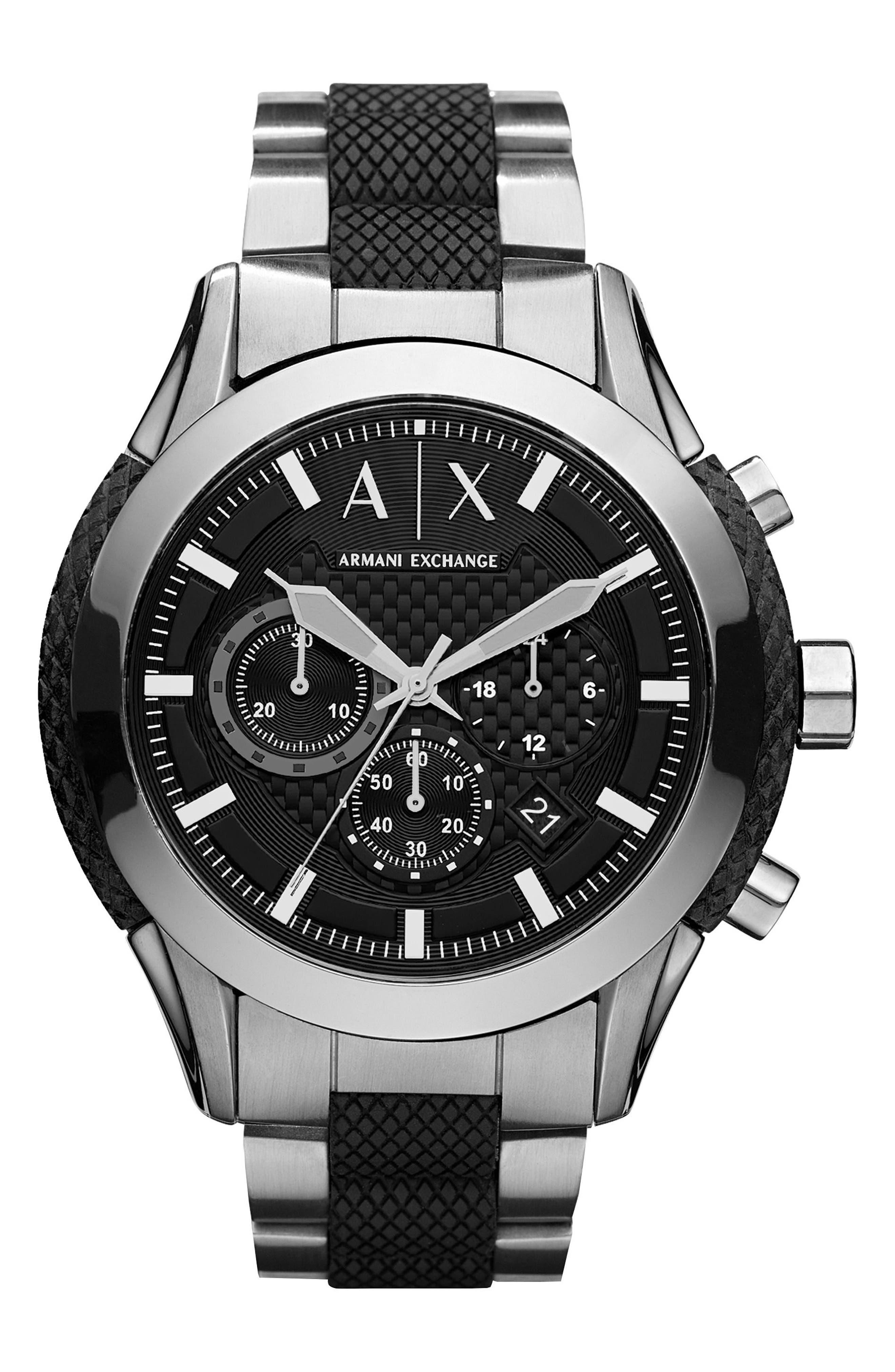 AX ARMANI EXCHANGE, Chronograph Bracelet Watch, 47mm, Main thumbnail 1, color, 040