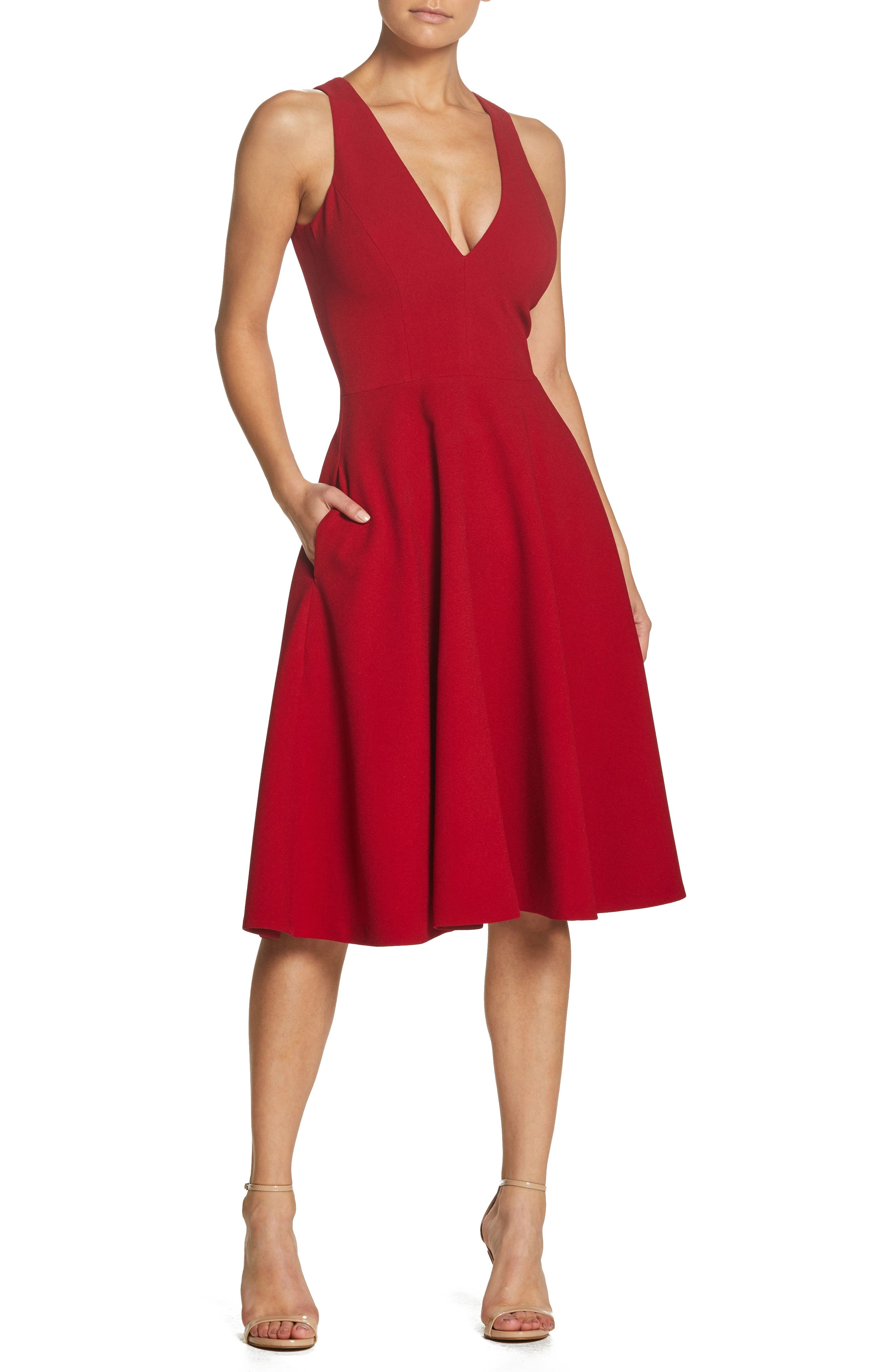 Dress The Population Catalina Tea Length Fit & Flare Dress, Red