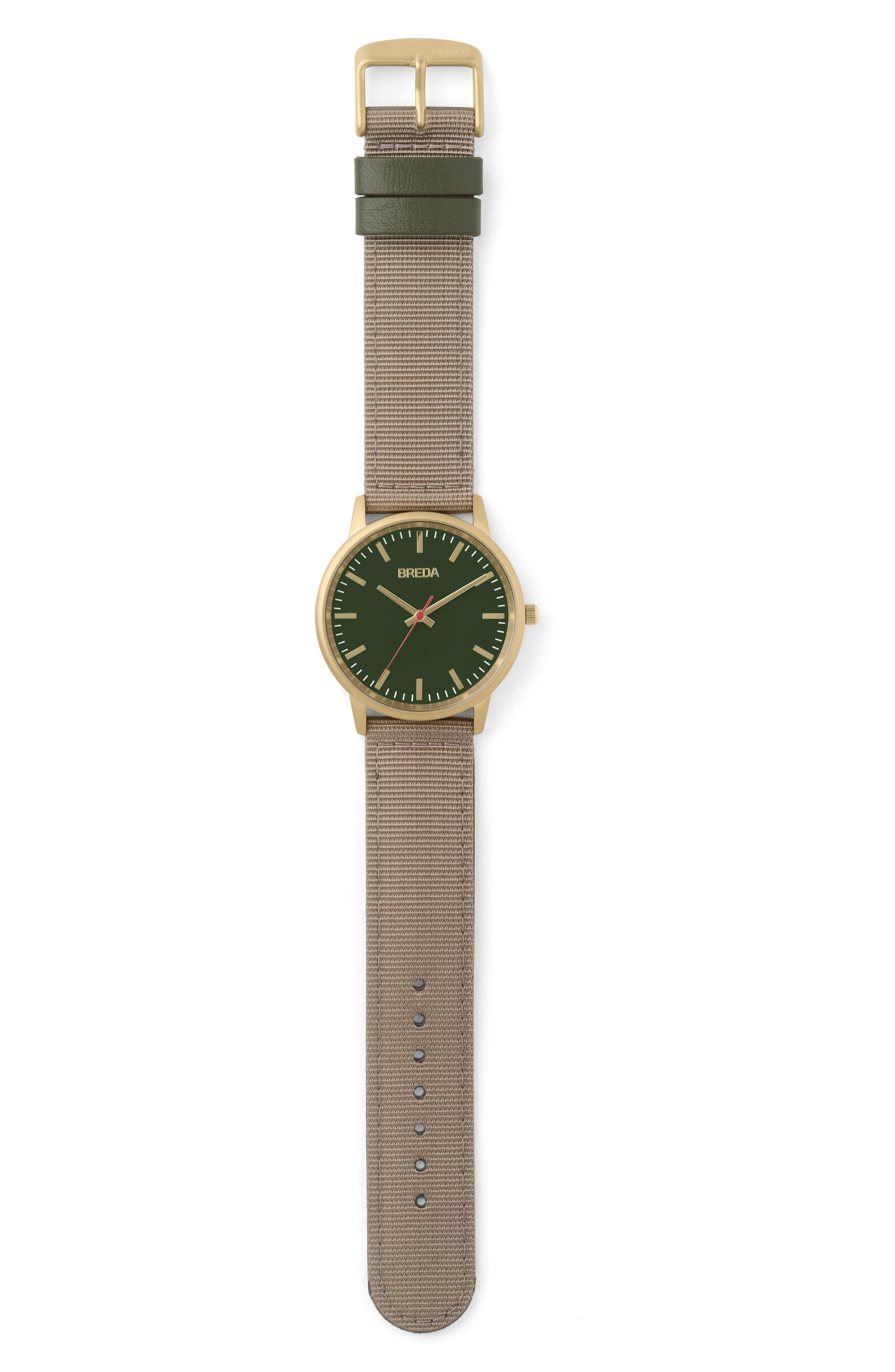 BREDA, Valor Nylon Strap Watch, 39mm, Alternate thumbnail 2, color, 250