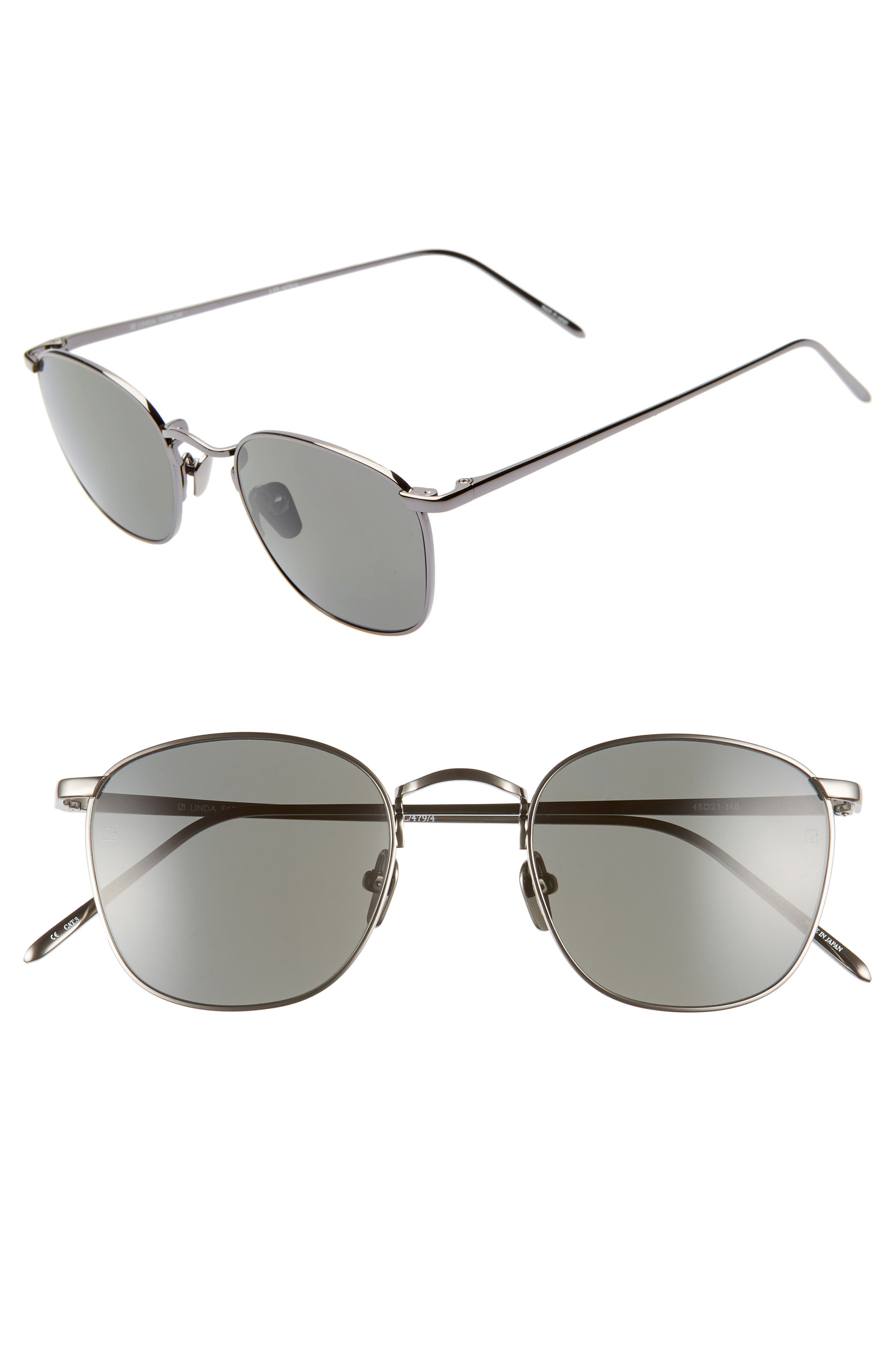 LINDA FARROW, 48mm Square Sunglasses, Main thumbnail 1, color, DARK NICKEL