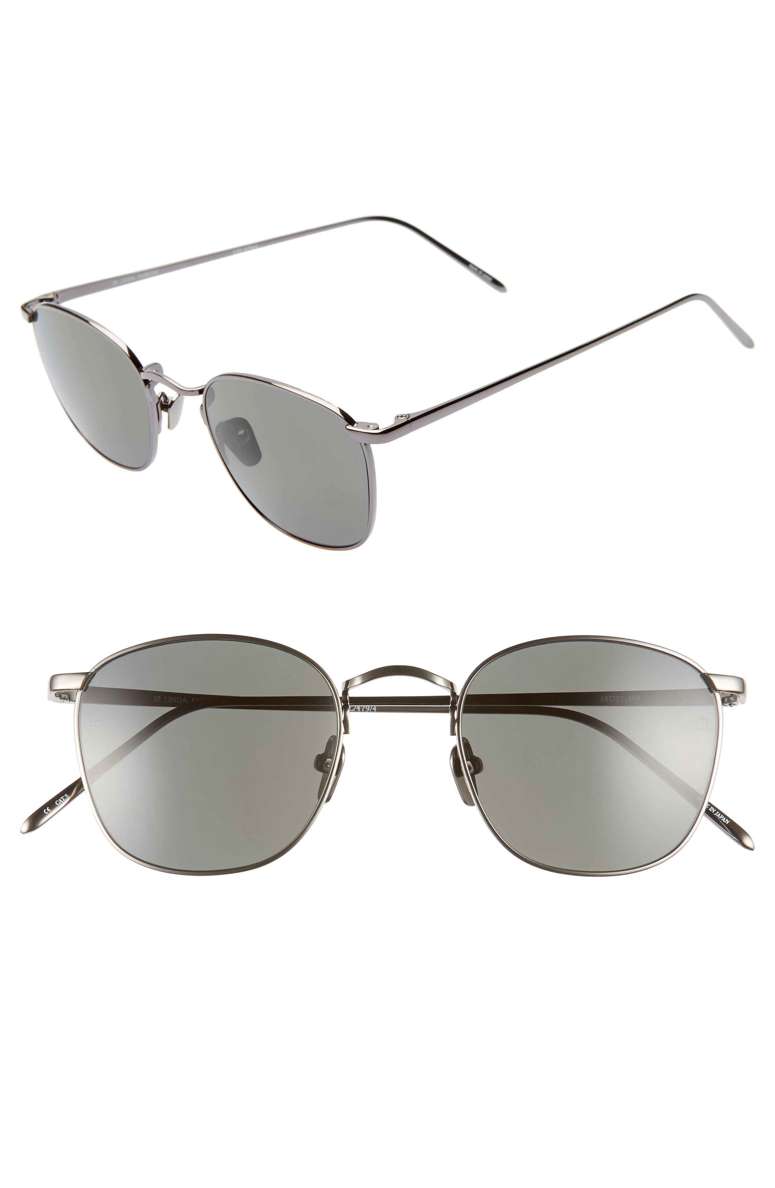 LINDA FARROW 48mm Square Sunglasses, Main, color, DARK NICKEL