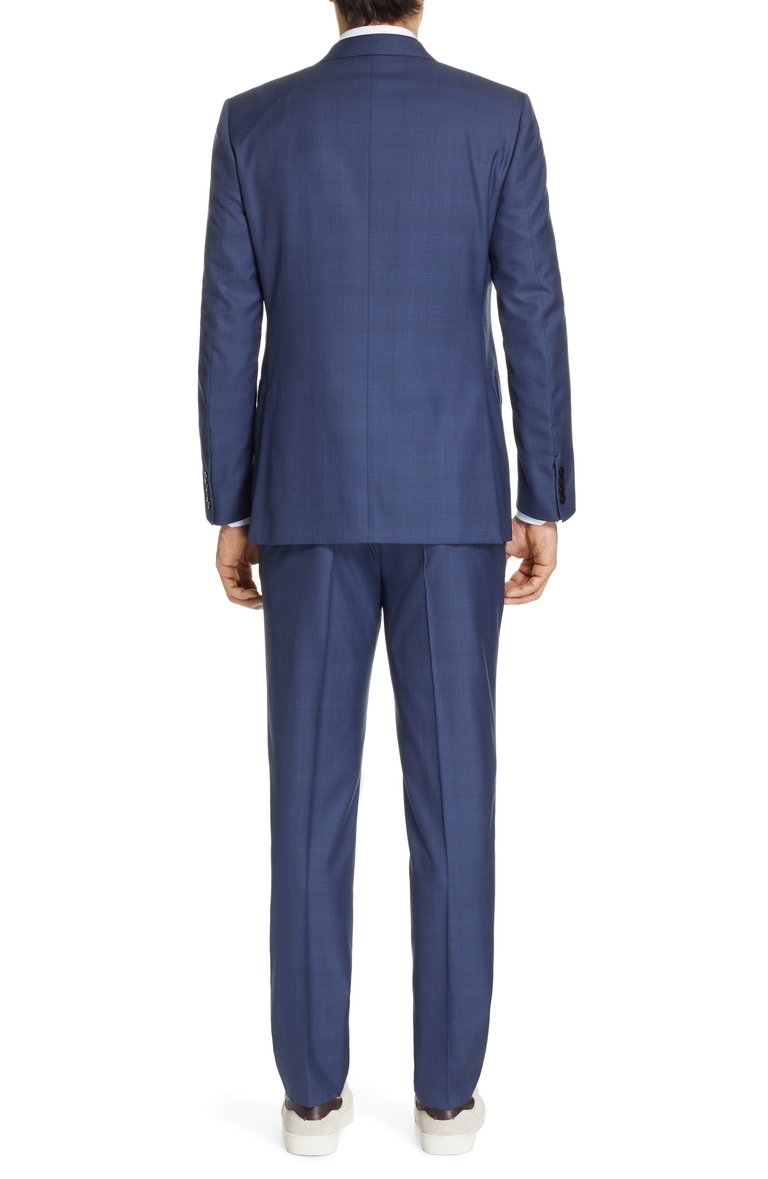 ERMENEGILDO ZEGNA, Trofeo Classic Fit Plaid Wool & Silk Suit, Alternate thumbnail 2, color, BLUE