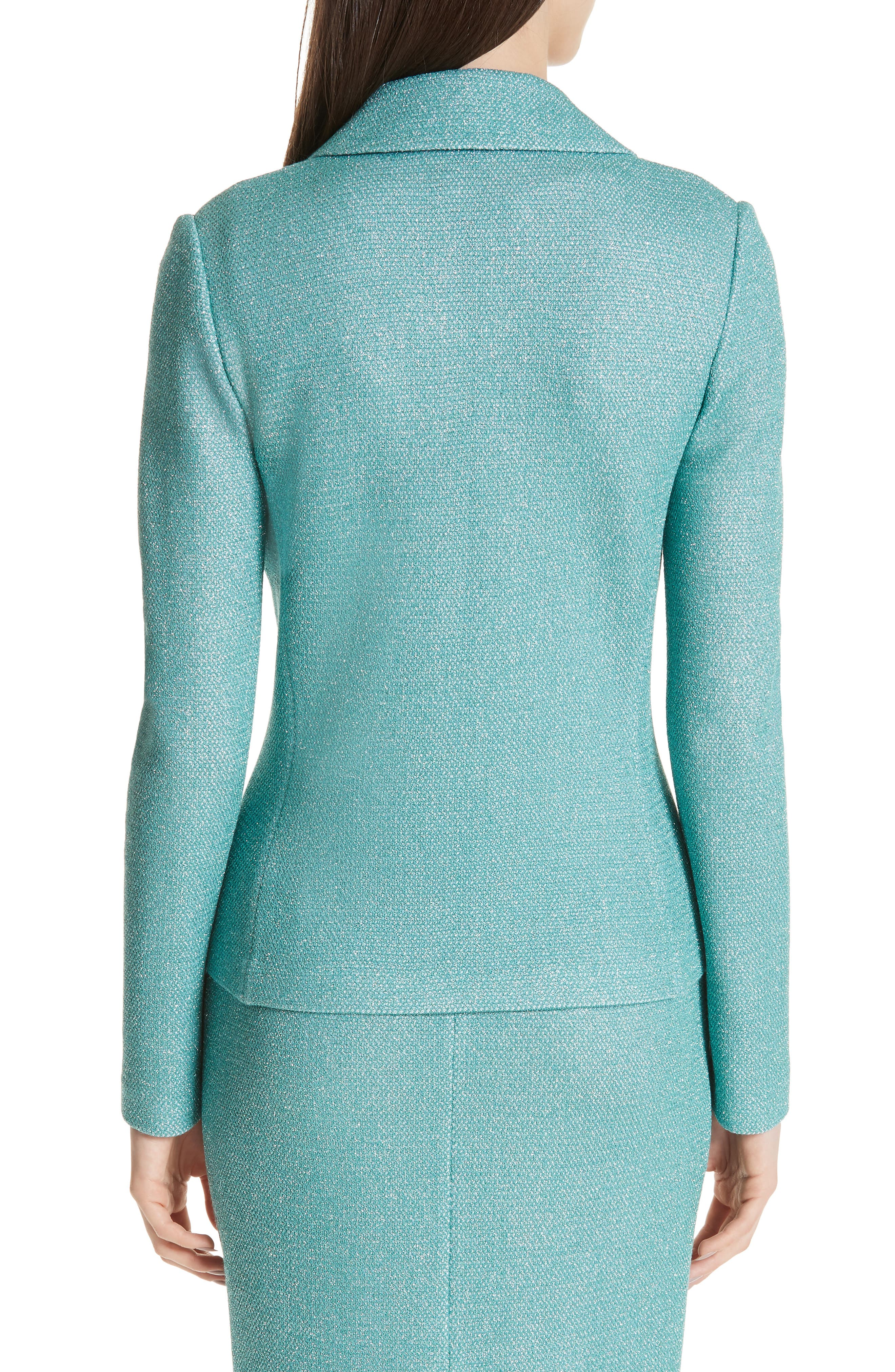 ST. JOHN COLLECTION, Bailey Knit Double Breasted Blazer, Alternate thumbnail 2, color, LAGOON