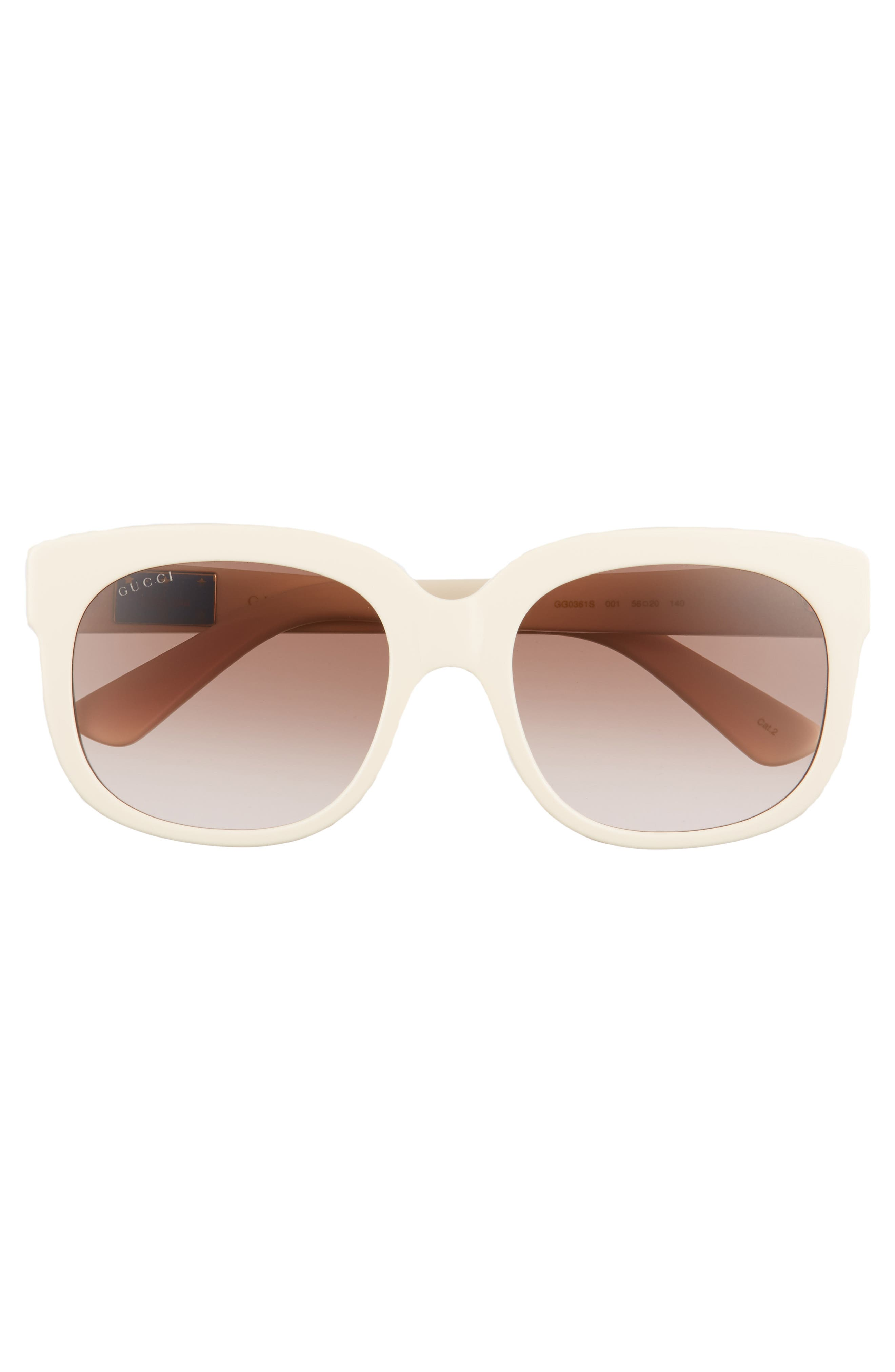 GUCCI, 56mm Gradient Cat Eye Sunglasses, Alternate thumbnail 3, color, IVORY/ BROWN/ PINK