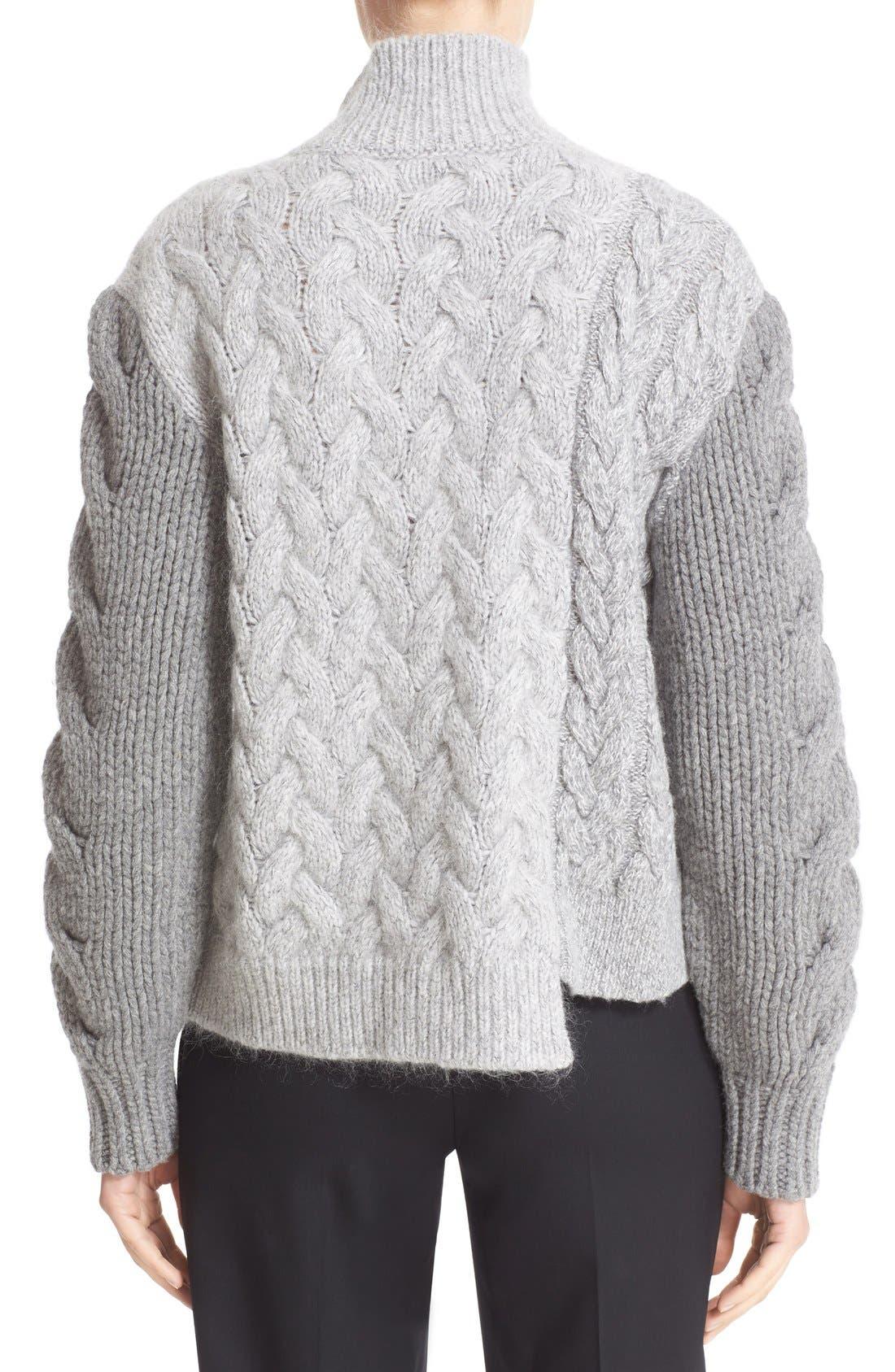 STELLA MCCARTNEY, Mixed Media Turtleneck Sweater, Alternate thumbnail 2, color, 120